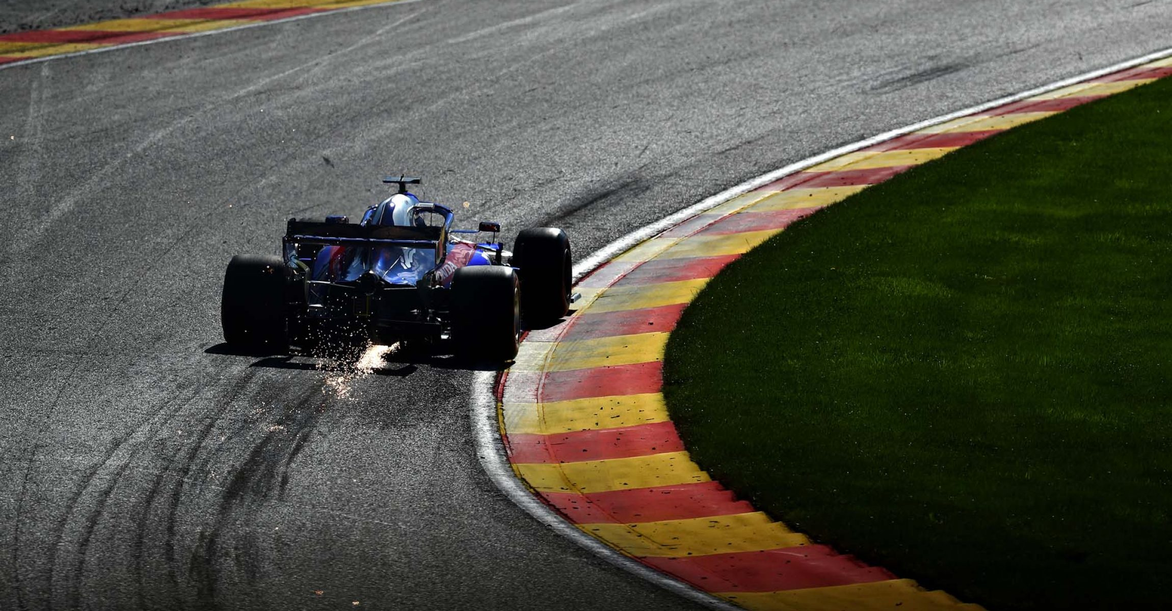 SPA, BELGIUM - AUGUST 31: Daniil Kvyat driving the (26) Scuderia Toro Rosso STR14 Honda on track during final practice for the F1 Grand Prix of Belgium at Circuit de Spa-Francorchamps on August 31, 2019 in Spa, Belgium. (Photo by Dean Mouhtaropoulos/Getty Images) // Getty Images / Red Bull Content Pool // AP-21E75C6P12111 // Usage for editorial use only //