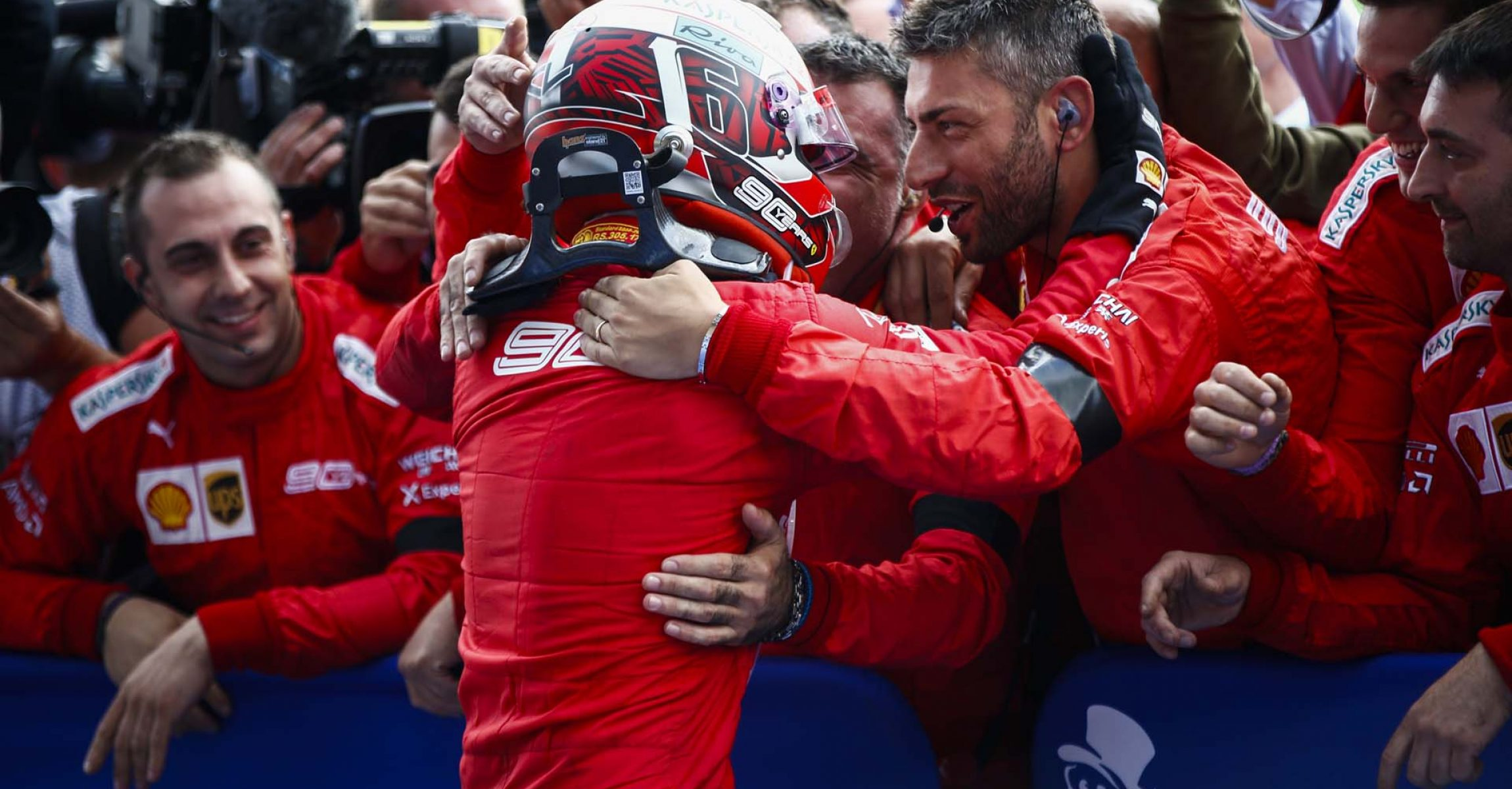 SPA-FRANCORCHAMPS, BELGIUM - SEPTEMBER 01: Charles Leclerc, Ferrari, celebrates victory in parc ferme during the Belgian GP at Spa-Francorchamps on September 01, 2019 in Spa-Francorchamps, Belgium. (Photo by Andy Hone / LAT Images)