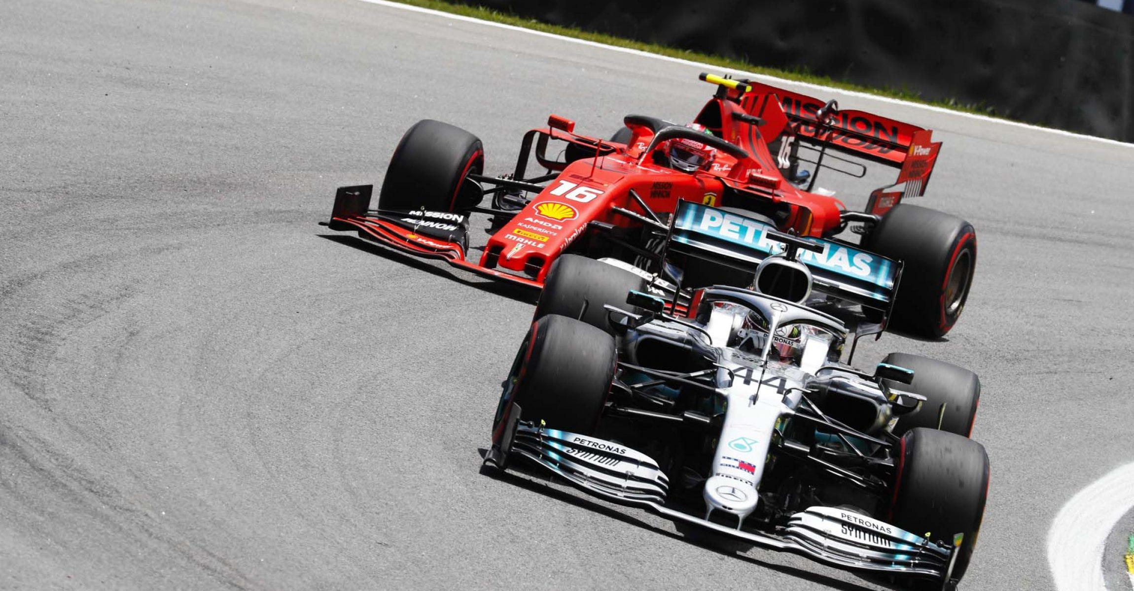2019 Brazilian Grand Prix, Saturday - Wolfgang Wilhelm Lewis Hamilton followed by Charles Leclerc Mercedes Ferrari