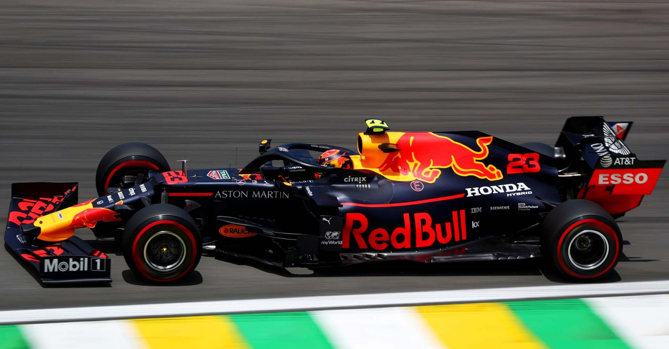 SAO PAULO, BRAZIL - NOVEMBER 16: Alexander Albon of Thailand driving the (23) Aston Martin Red Bull Racing RB15 on track during final practice for the F1 Grand Prix of Brazil at Autodromo Jose Carlos Pace on November 16, 2019 in Sao Paulo, Brazil. (Photo by Dan Istitene/Getty Images) // Getty Images / Red Bull Content Pool // AP-22725ZCD12111 // Usage for editorial use only //