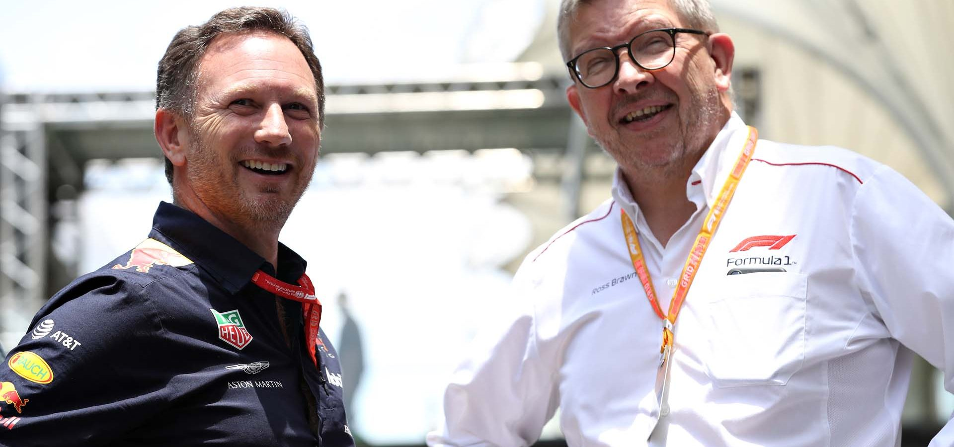 SAO PAULO, BRAZIL - NOVEMBER 17: Red Bull Racing Team Principal Christian Horner talks with Ross Brawn, Managing Director (Sporting) of the Formula One Group, before the F1 Grand Prix of Brazil at Autodromo Jose Carlos Pace on November 17, 2019 in Sao Paulo, Brazil. (Photo by Robert Cianflone/Getty Images) // Getty Images / Red Bull Content Pool  // AP-227C6EH1D2111 // Usage for editorial use only //