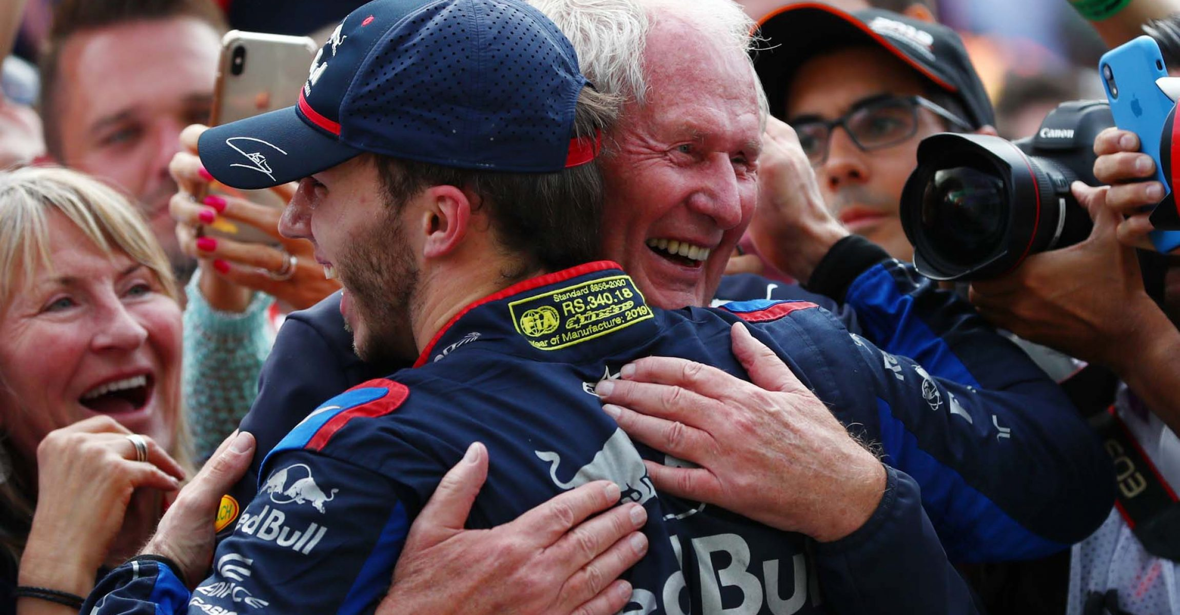 SAO PAULO, BRAZIL - NOVEMBER 17: Second placed Pierre Gasly of France and Scuderia Toro Rosso celebrates in parc ferme with Red Bull Racing Team Consultant Dr Helmut Marko during the F1 Grand Prix of Brazil at Autodromo Jose Carlos Pace on November 17, 2019 in Sao Paulo, Brazil. (Photo by Dan Istitene/Getty Images) // Getty Images / Red Bull Content Pool // AP-227E72TGS2111 // Usage for editorial use only //