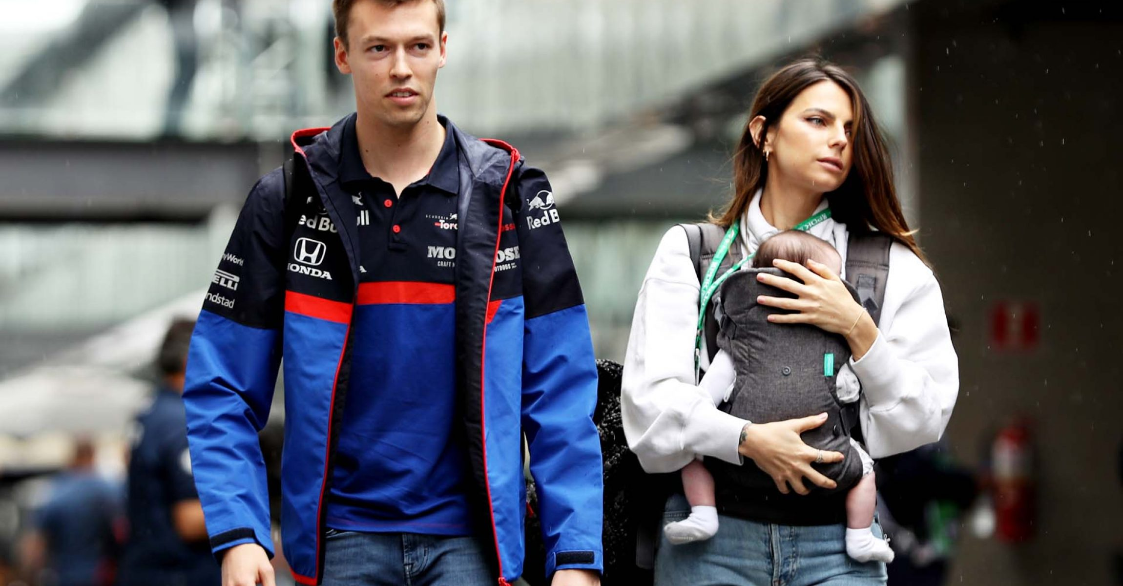 SAO PAULO, BRAZIL - NOVEMBER 14: Daniil Kvyat of Russia and Scuderia Toro Rosso and his girlfriend Kelly Piquet walk in the Paddock during previews ahead of the F1 Grand Prix of Brazil at Autodromo Jose Carlos Pace on November 14, 2019 in Sao Paulo, Brazil. (Photo by Robert Cianflone/Getty Images) // Getty Images / Red Bull Content Pool // AP-226CCCNXD2111 // Usage for editorial use only //