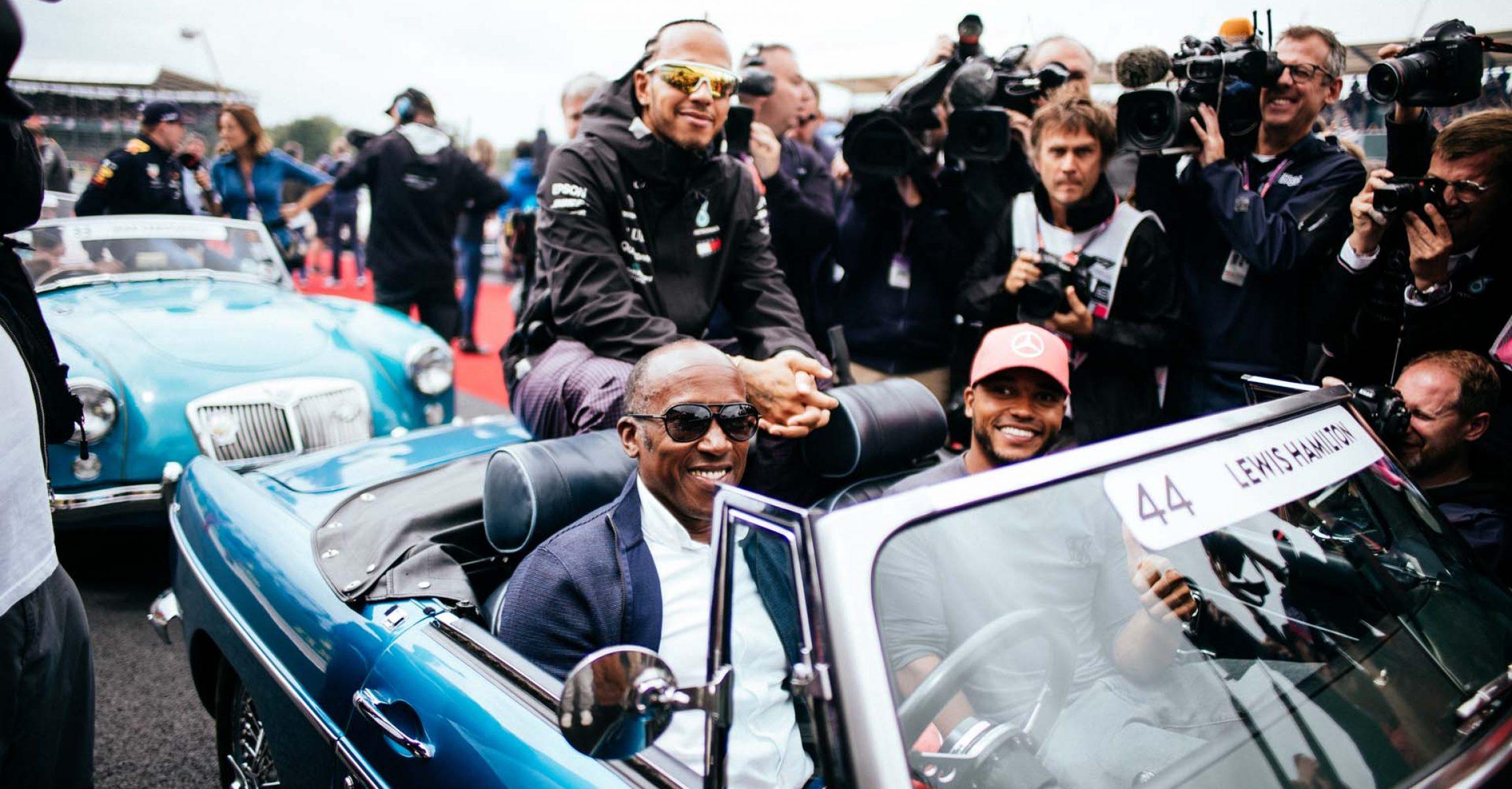 2019 British Grand Prix, Sunday - Paul Ripke Anthony Hamilton Nicolas Hamilton Lewis Hamilton Mercedes