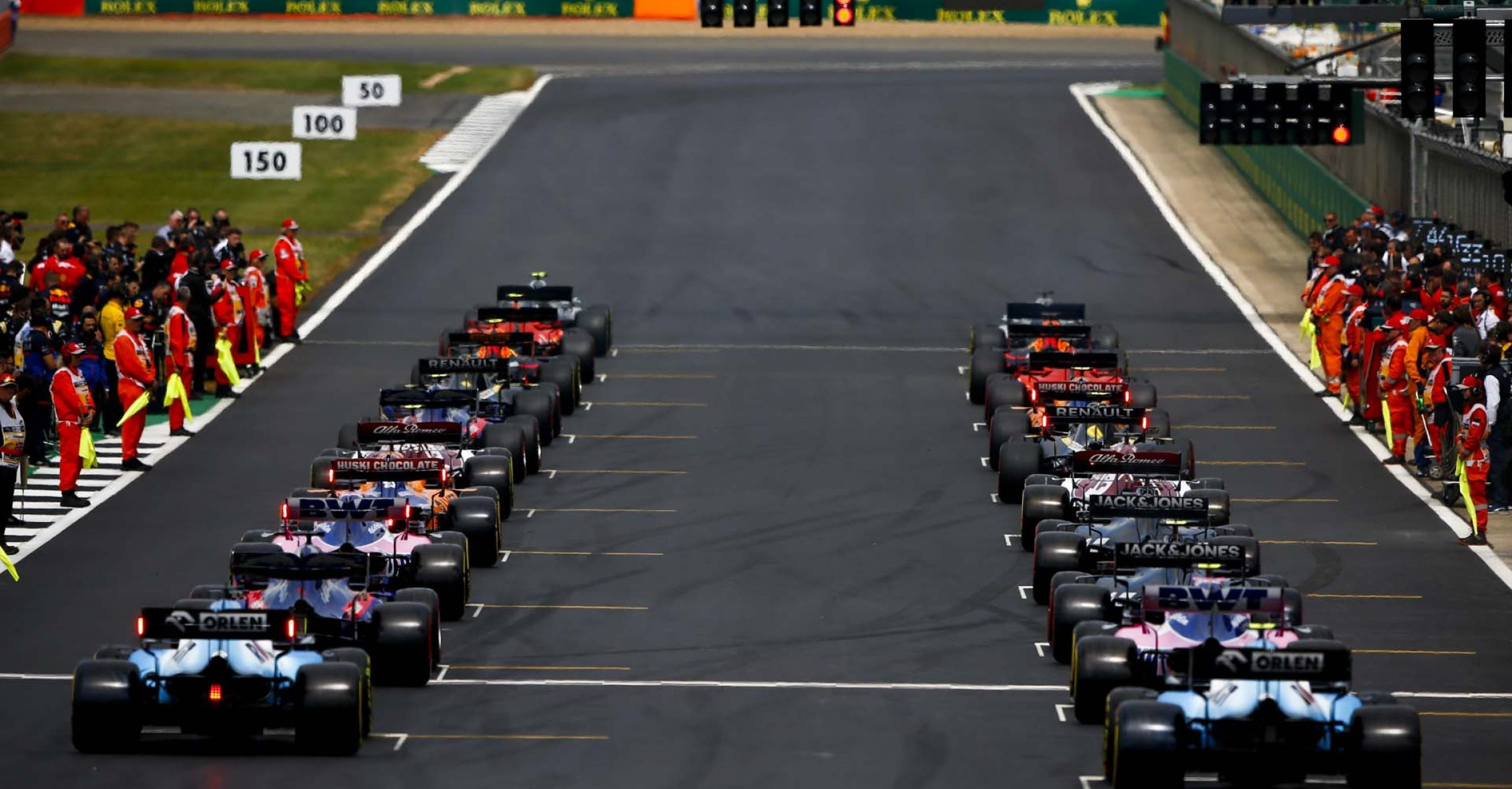 SILVERSTONE, UNITED KINGDOM - JULY 14: Rear of the grid at the start of the formation lap during the British GP at Silverstone on July 14, 2019 in Silverstone, United Kingdom. (Photo by Andy Hone / LAT Images)