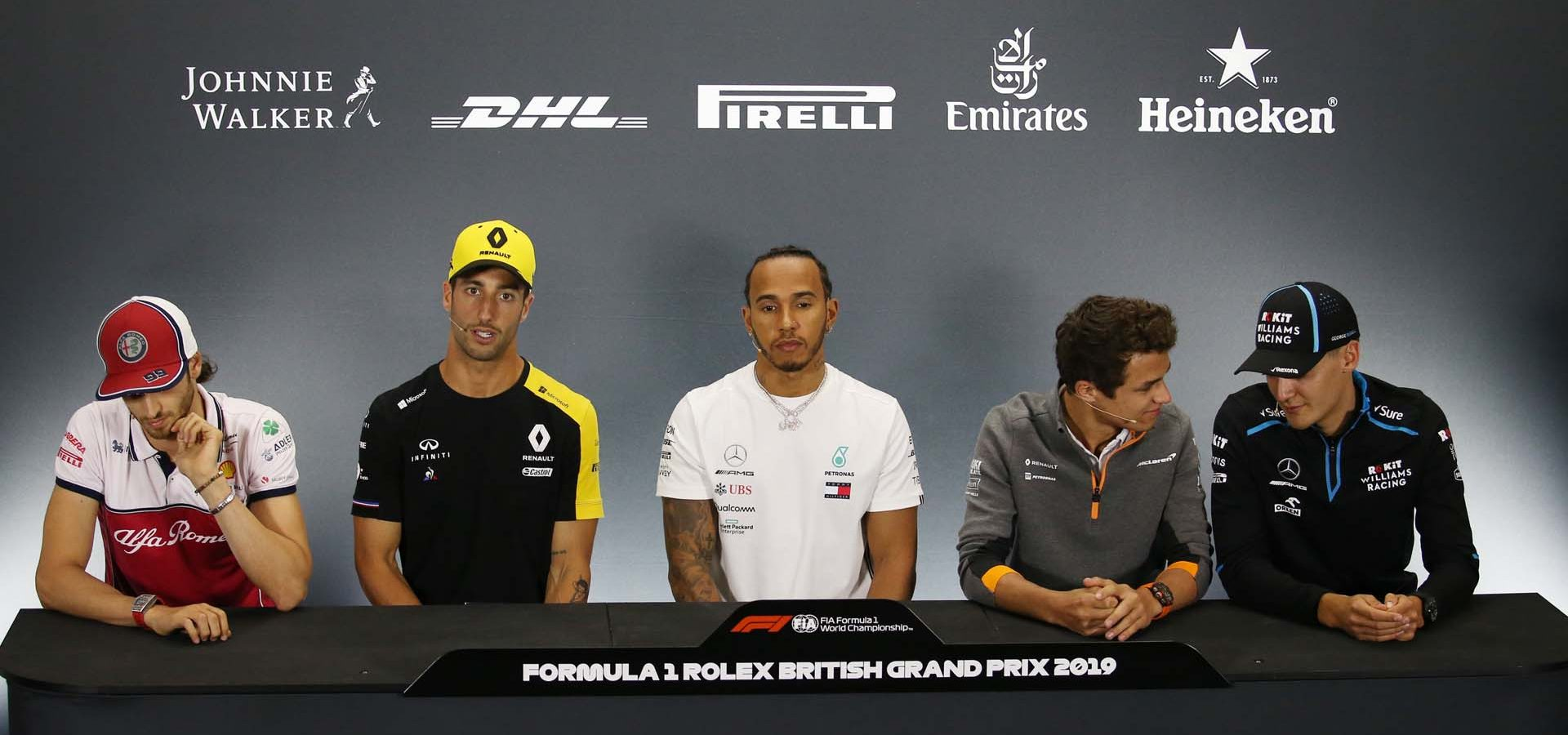 The FIA Press Conference (L to R): Antonio Giovinazzi (ITA) Alfa Romeo Racing; Daniel Ricciardo (AUS) Renault F1 Team; Lewis Hamilton (GBR) Mercedes AMG F1; Lando Norris (GBR) McLaren; George Russell (GBR) Williams Racing. British Grand Prix, Thursday 11th July 2019. Silverstone, England.