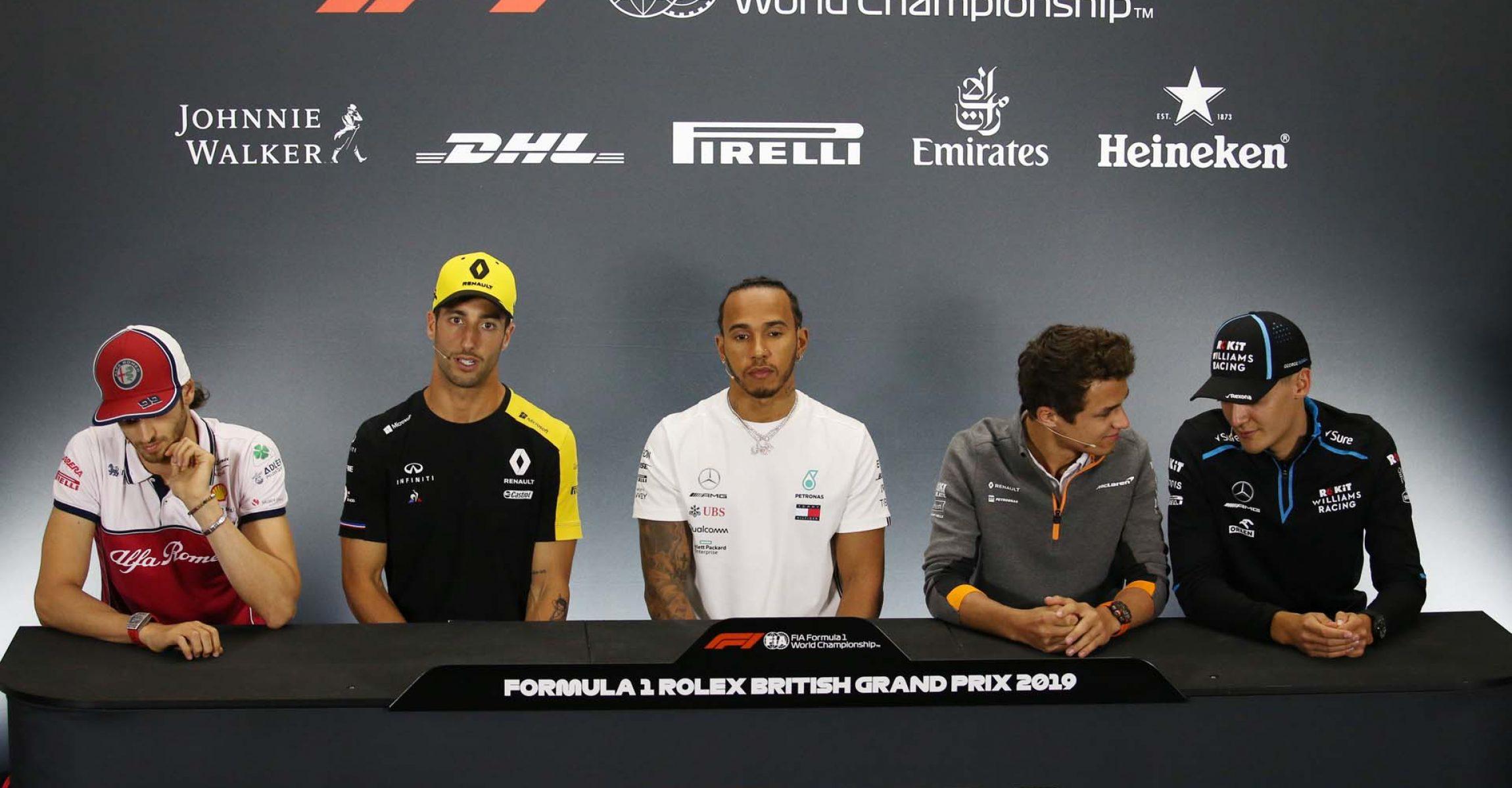 The FIA Press Conference (L to R): Antonio Giovinazzi (ITA) Alfa Romeo Racing; Daniel Ricciardo (AUS) Renault F1 Team; Lewis Hamilton (GBR) Mercedes AMG F1; Lando Norris (GBR) McLaren; George Russell (GBR) Williams Racing. British Grand Prix, Thursday 11th July 2019. Silverstone, England.
