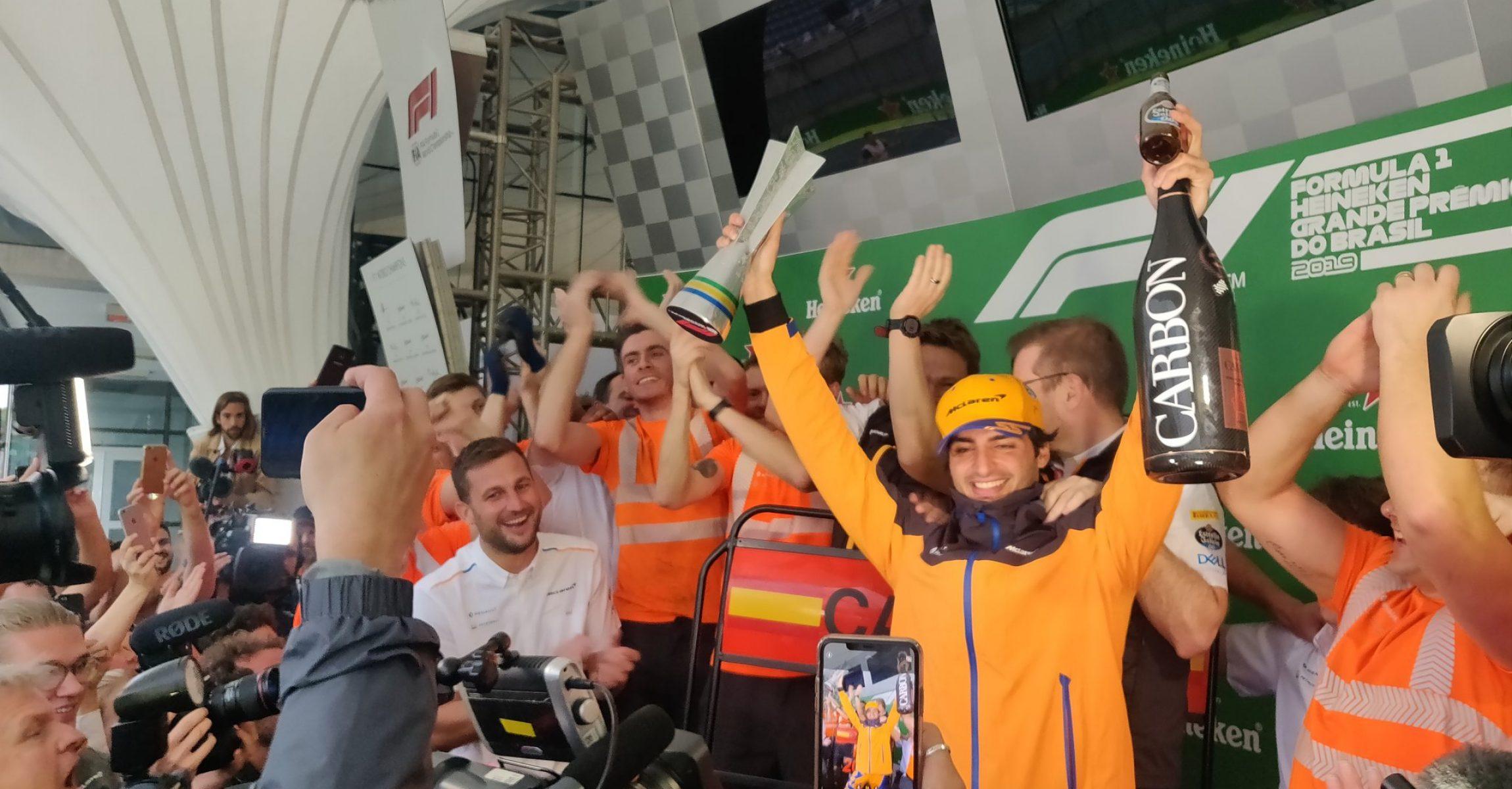Carlos Sainz, McLaren, podium