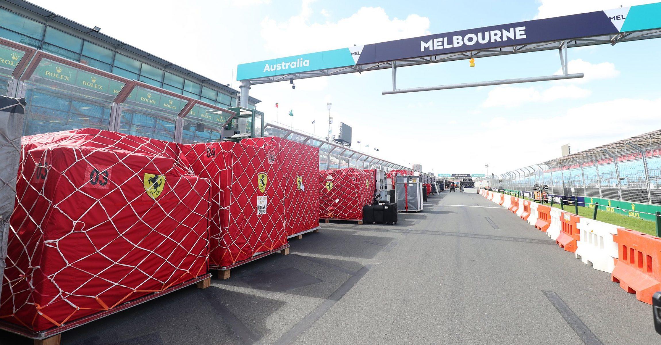 F1 freights Ferrari Melbourne