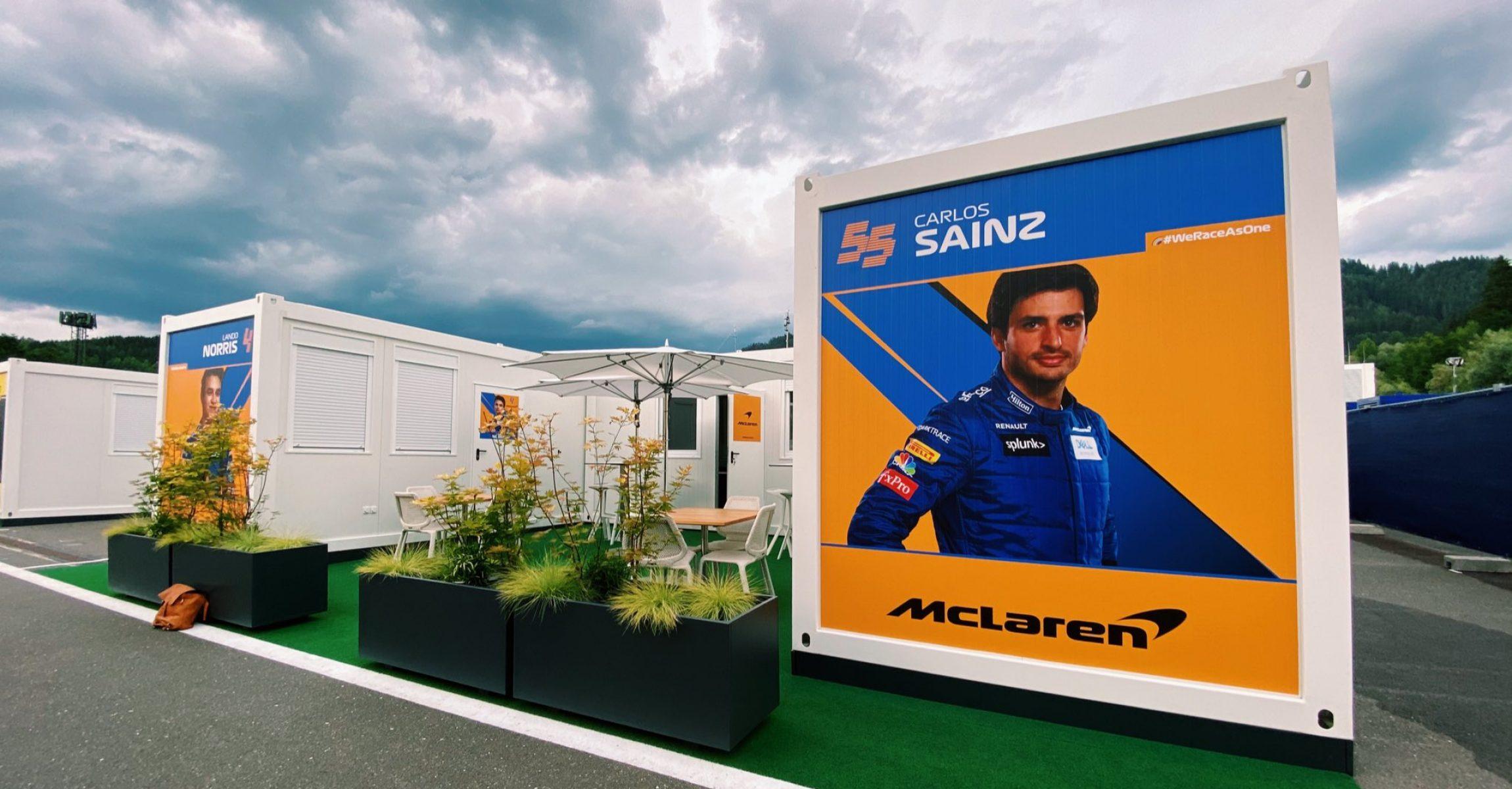Spielberg paddock, McLaren, Carlos Sainz