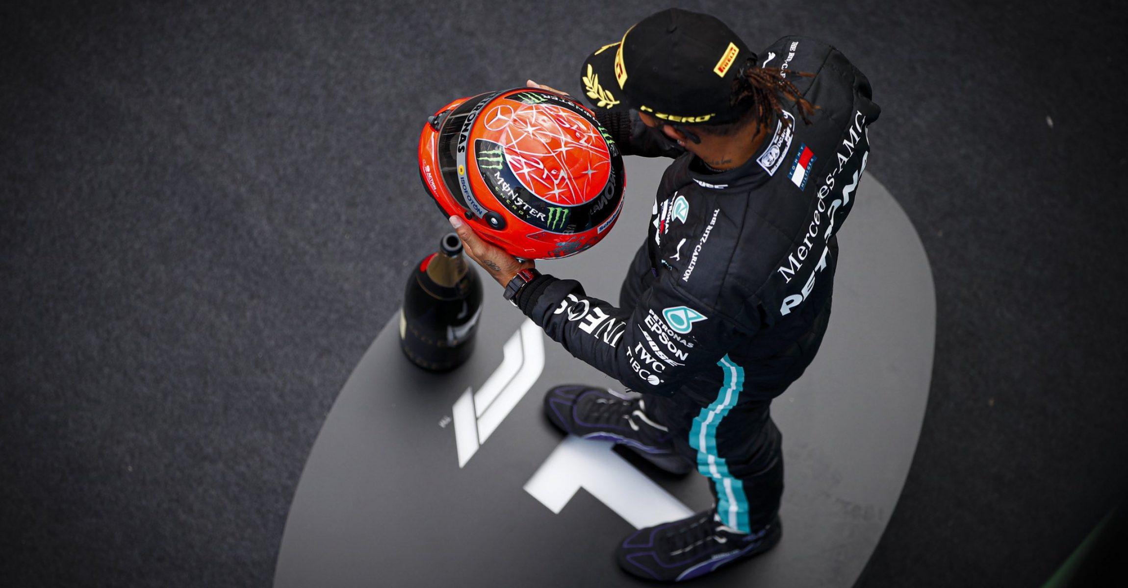 Lewis Hamilton Mercedes with Michael Schumacher's helmet
