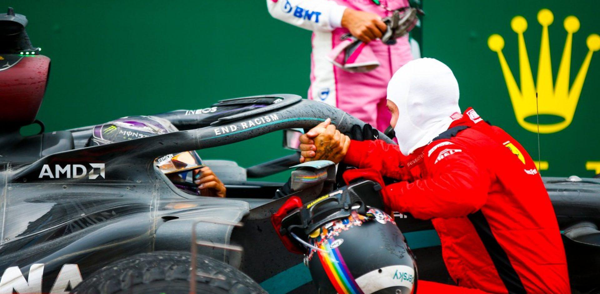 Sebastian Vettel congratulates Lewis Hamilton Mercedes
