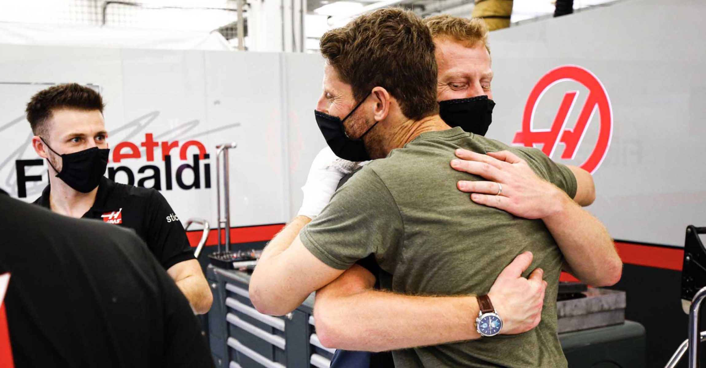 Romain Grosjean and his engineer, Dominic Haines Haas F1 Team