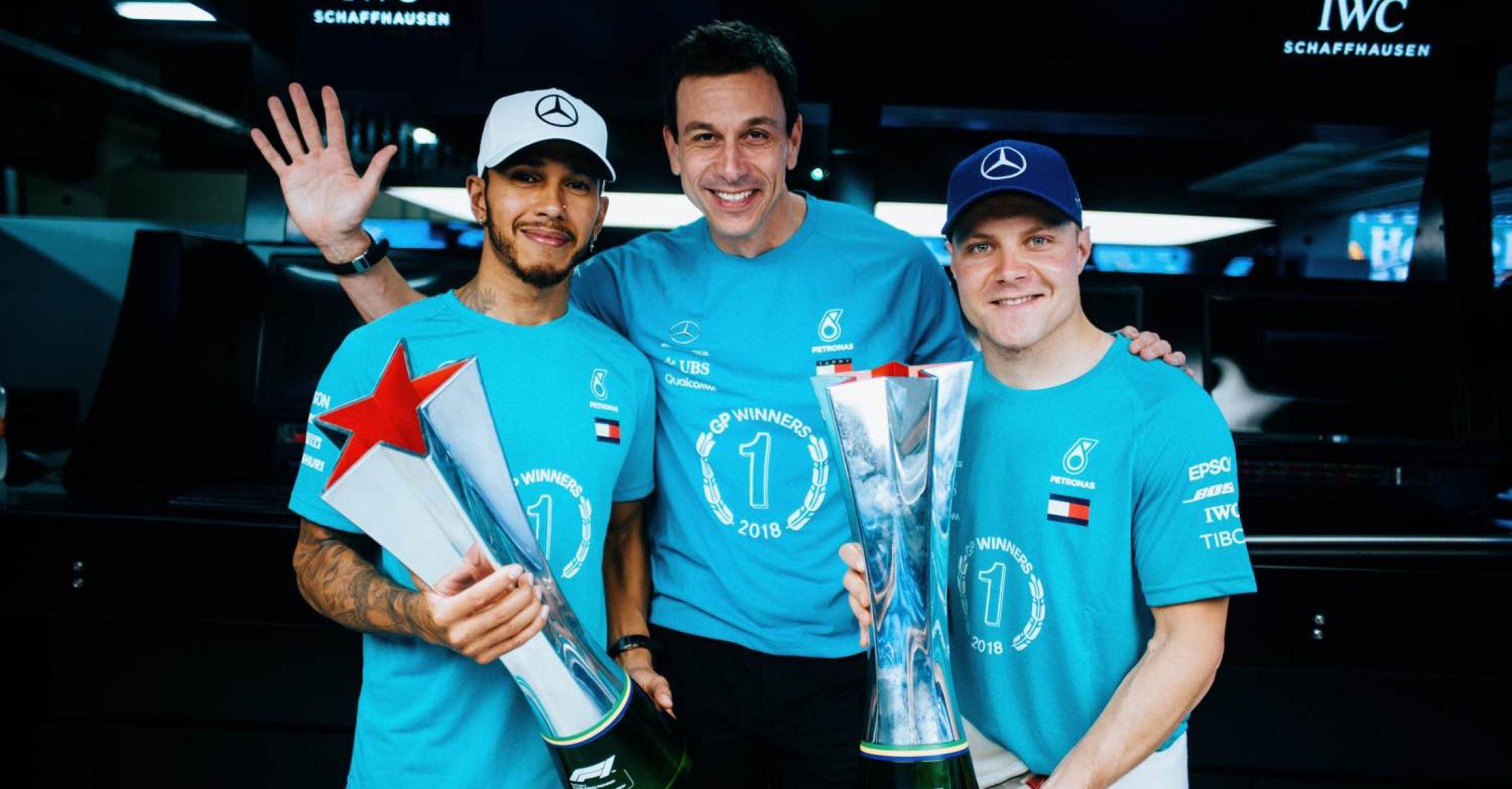 2018 Brazilian Grand Prix, Sunday - Paul Ripke Lewis Hamilton Toto Wolff, Valtteri Bottas