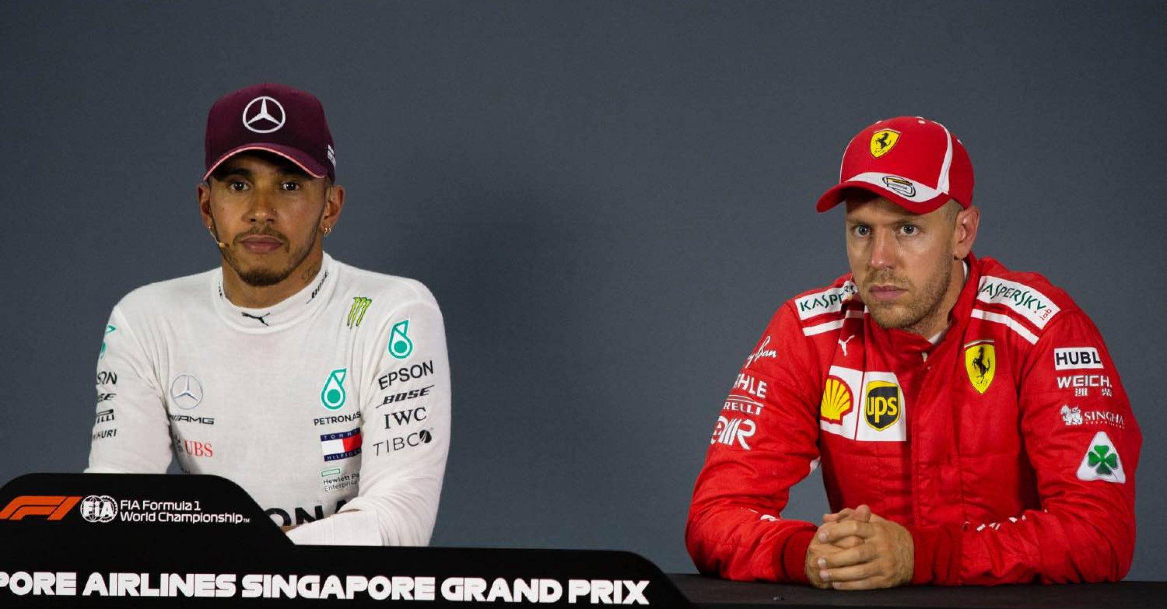 Lewis Hamilton, Mercedes AMG F1 and Sebastian Vettel, Ferrari in the Press Conference at Formula One World Championship, Rd15, Singapore Grand Prix, Qualifying, Marina Bay Circuit, Singapore, Saturday 15 September 2018.