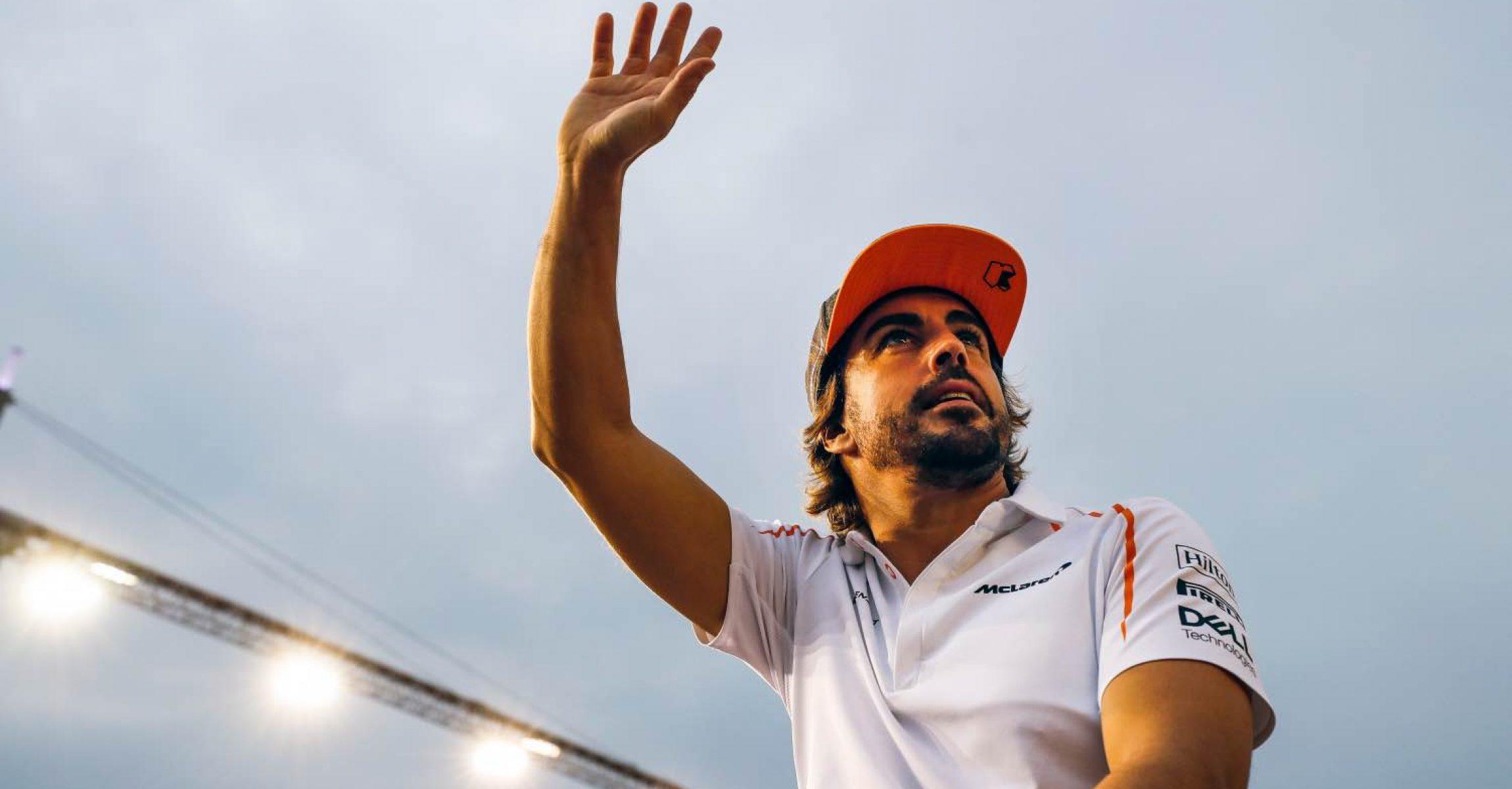 Marina Bay Circuit, Singapore Sunday 16 September 2018. Fernando Alonso, McLaren, in the drivers parade. Photo: Steven Tee/McLaren ref: Digital Image _2ST1470