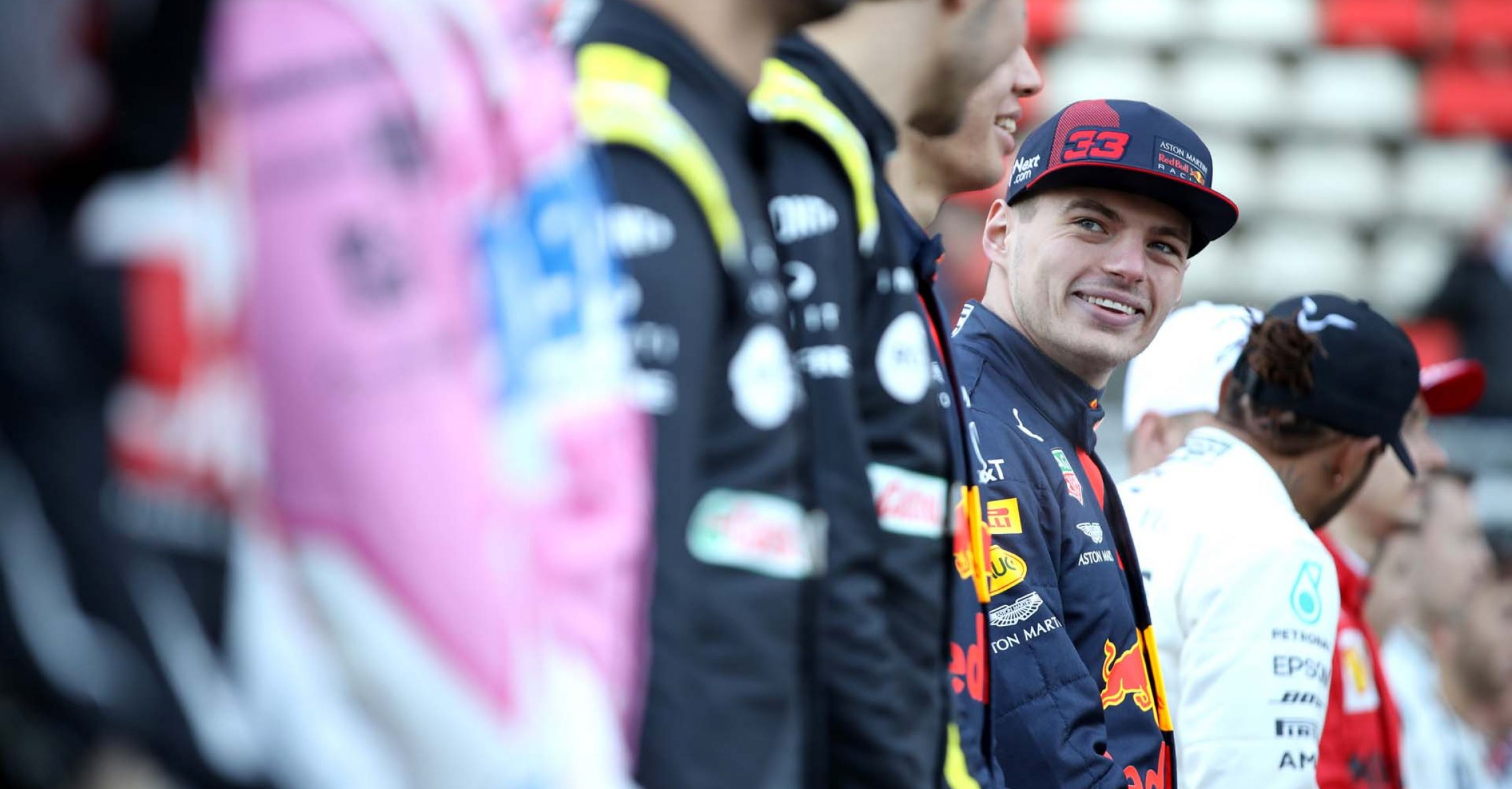 BARCELONA, SPAIN - FEBRUARY 19: Max Verstappen of Netherlands and Red Bull Racing looks on as drivers line up on the grid for a photo prior to day one of Formula 1 Winter Testing at Circuit de Barcelona-Catalunya on February 19, 2020 in Barcelona, Spain. (Photo by Mark Thompson/Getty Images) // Getty Images / Red Bull Content Pool  // AP-235K3D3NS2111 // Usage for editorial use only //