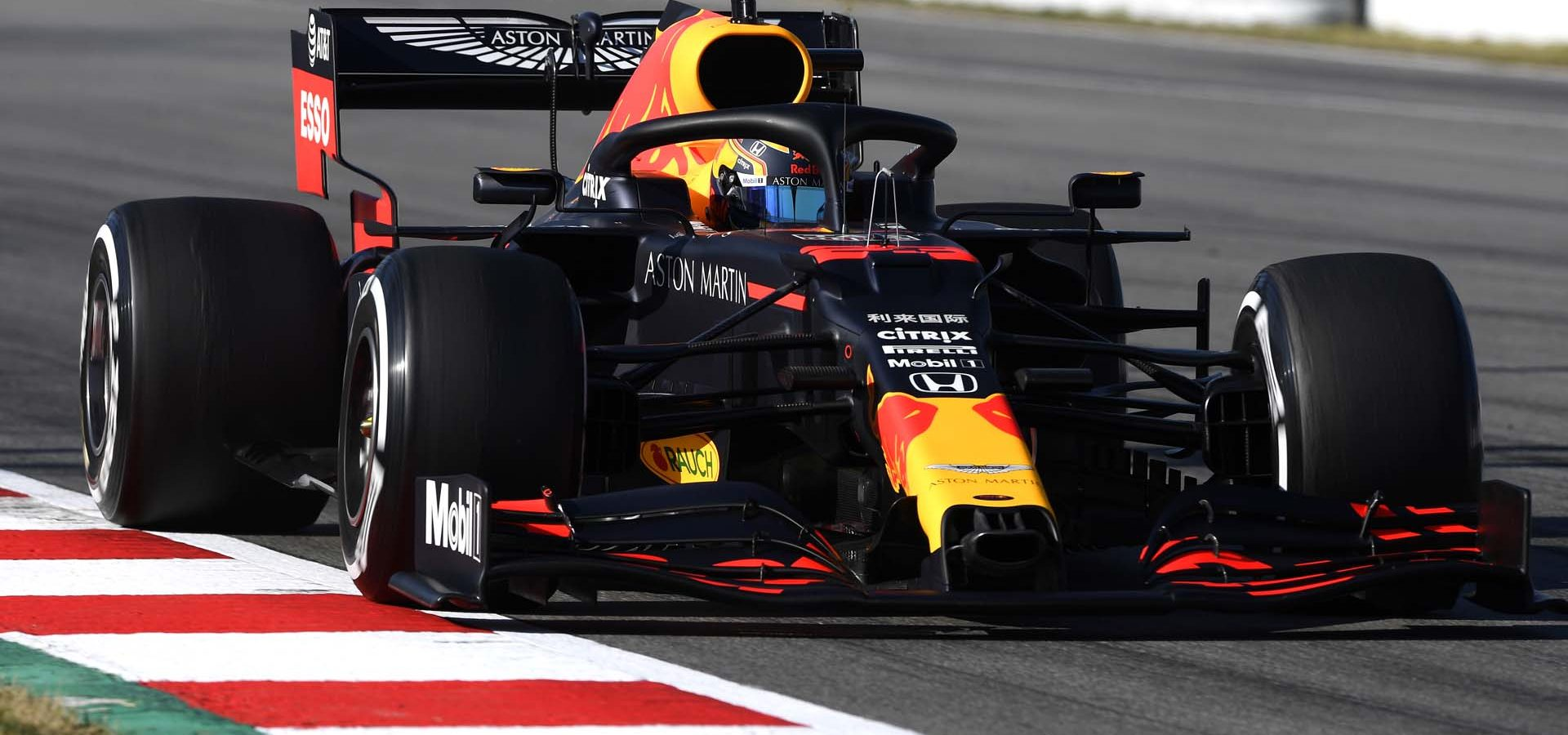 BARCELONA, SPAIN - FEBRUARY 20: Alexander Albon of Thailand driving the (23) Aston Martin Red Bull Racing RB16 on track during day two of F1 Winter Testing at Circuit de Barcelona-Catalunya on February 20, 2020 in Barcelona, Spain. (Photo by Rudy Carezzevoli/Getty Images) // Getty Images / Red Bull Content Pool  // AP-235X3VU2W2111 // Usage for editorial use only //