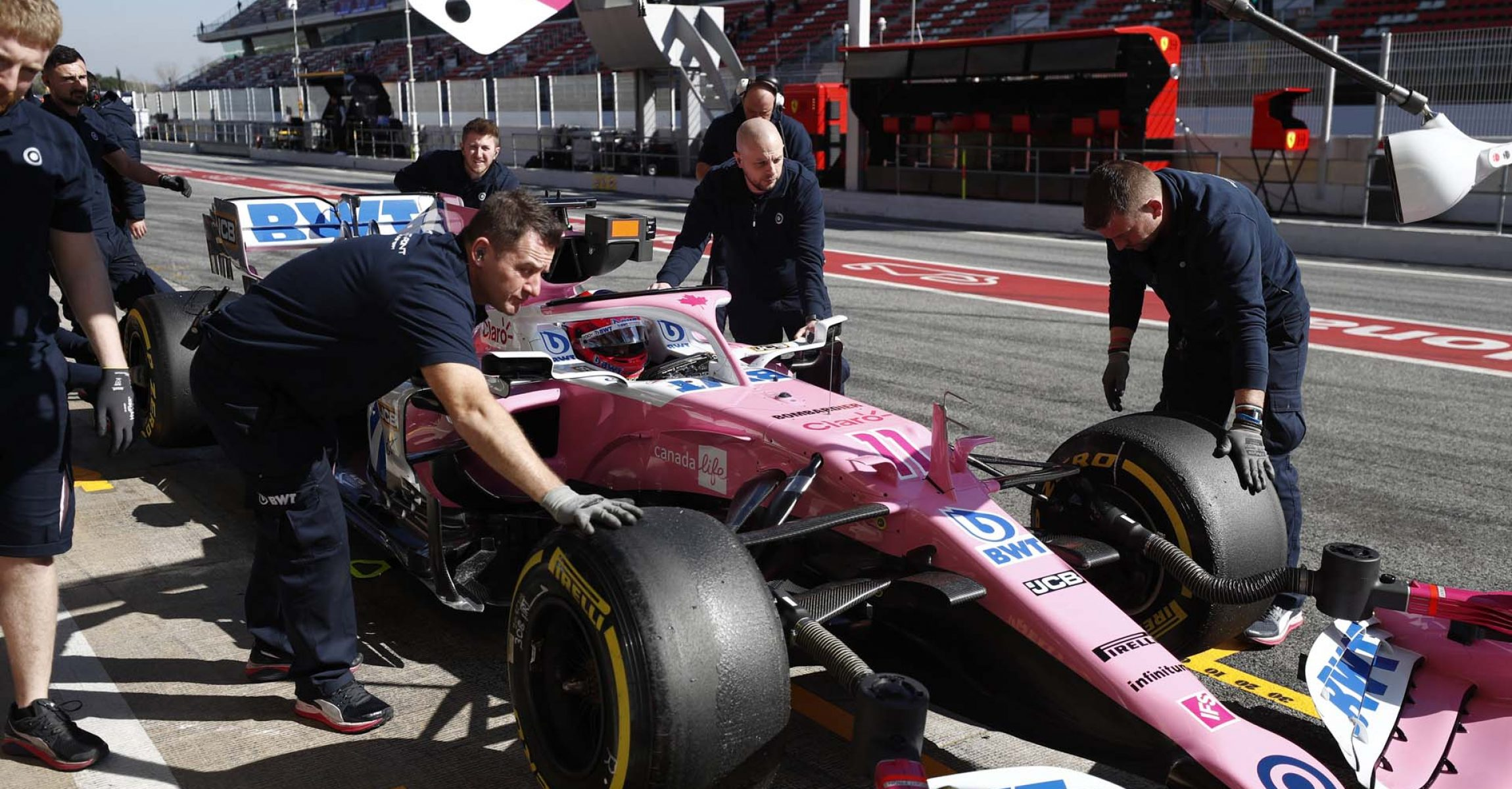 Sergio Perez, Racing Point RP20 in the pitlane