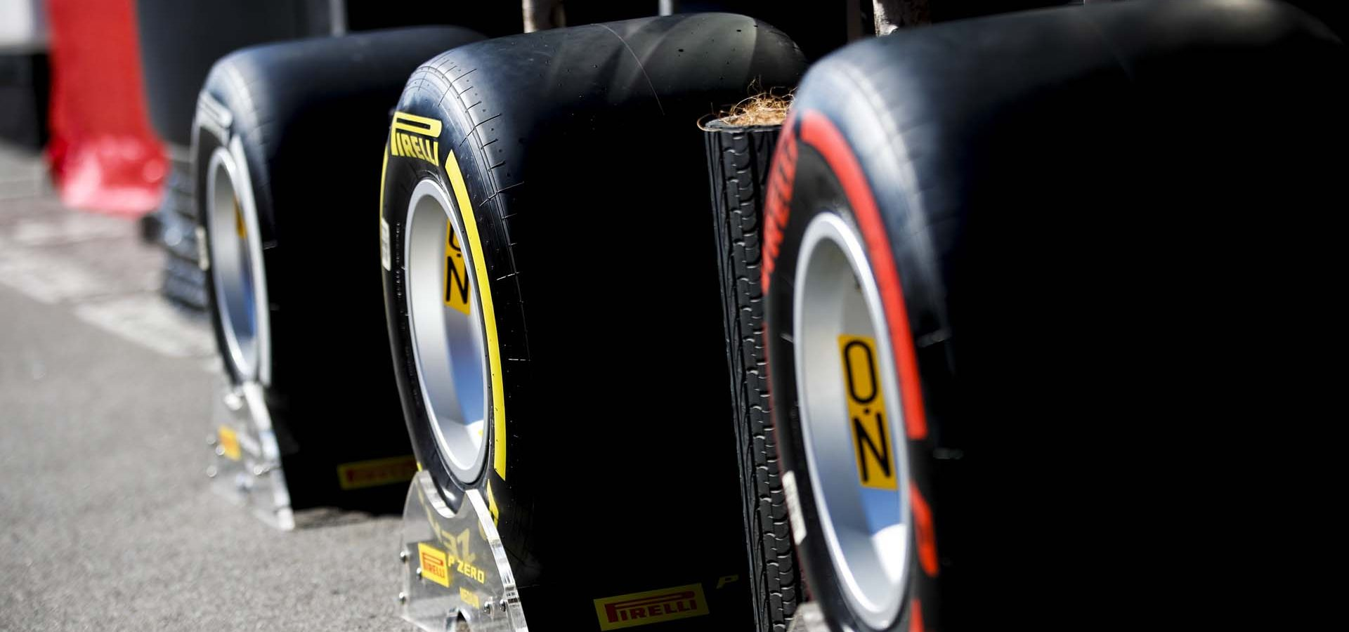 CIRCUIT DE BARCELONA-CATALUNYA, SPAIN - FEBRUARY 21: Tyres outside Pirelli Hospitality during the Barcelona February testing I at Circuit de Barcelona-Catalunya on February 21, 2020 in Circuit de Barcelona-Catalunya, Spain. (Photo by Zak Mauger / LAT Images)