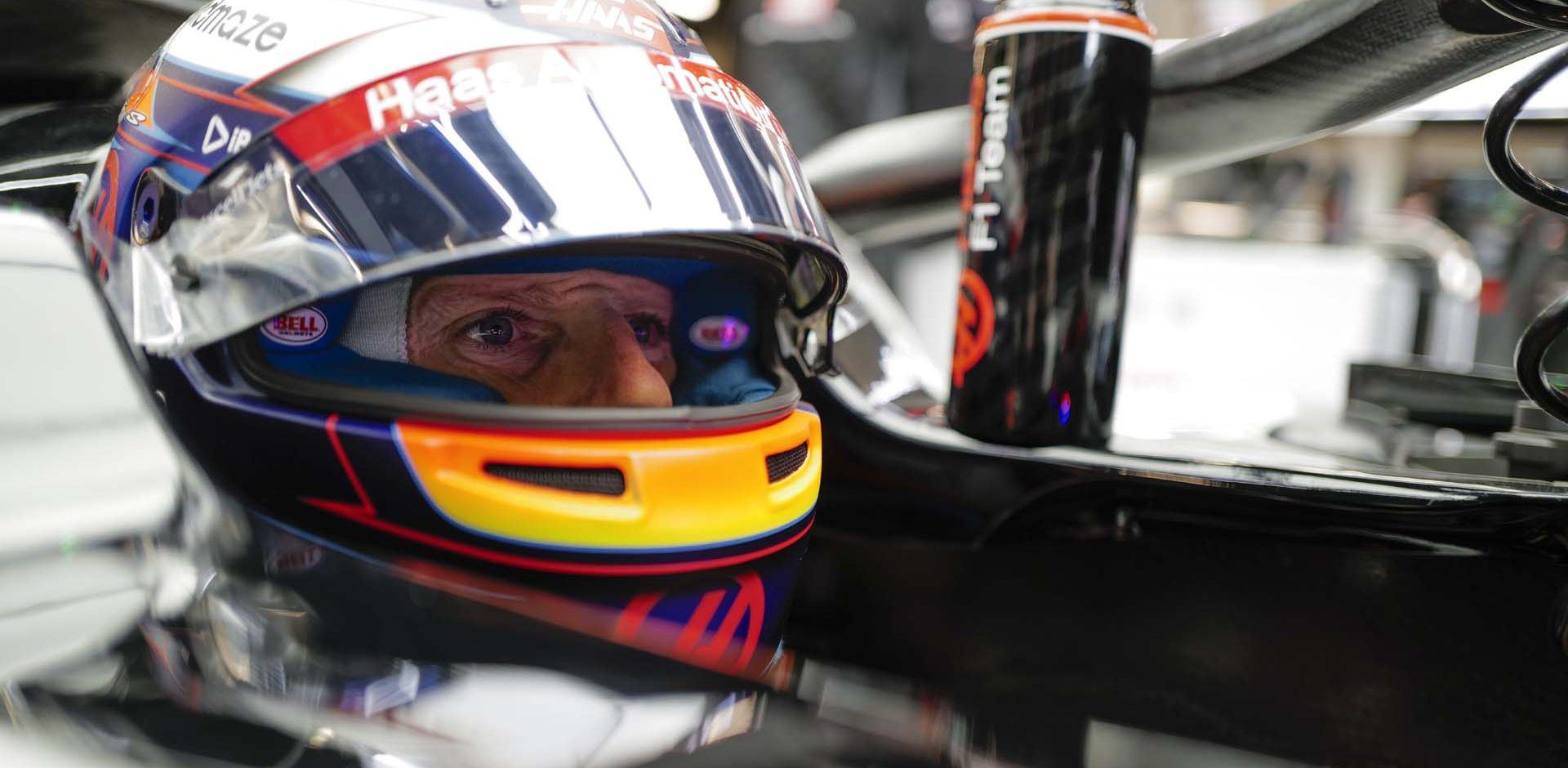 CIRCUIT DE BARCELONA-CATALUNYA, SPAIN - FEBRUARY 26: Romain Grosjean, Haas VF-20 sits in his car in the garage during the Barcelona February testing II at Circuit de Barcelona-Catalunya on February 26, 2020 in Circuit de Barcelona-Catalunya, Spain.