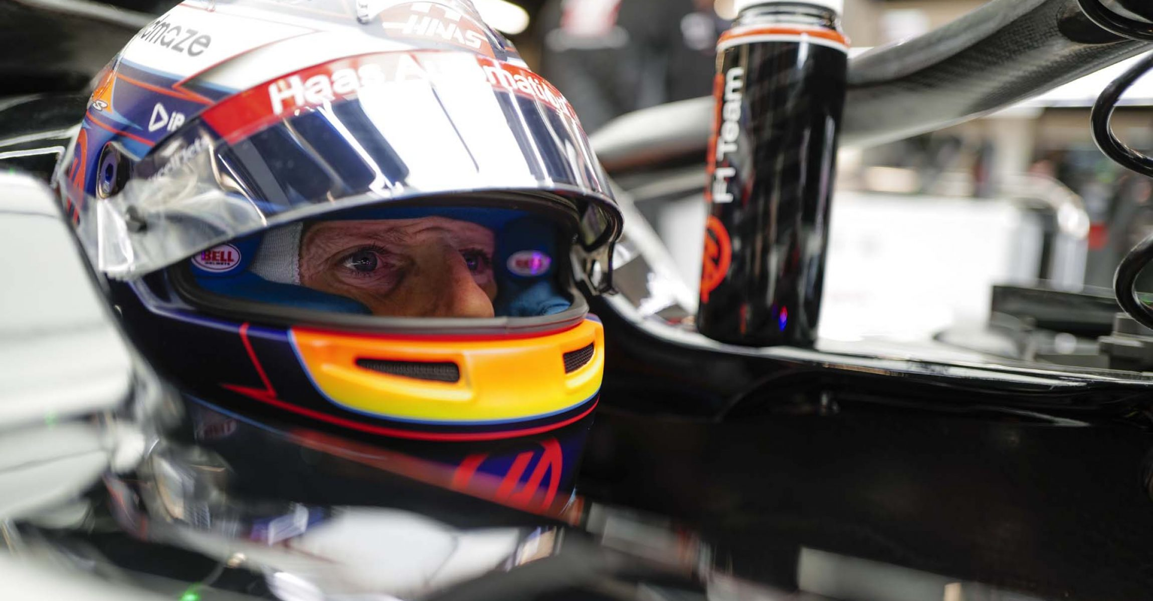 CIRCUIT DE BARCELONA-CATALUNYA, SPAIN - FEBRUARY 26: Romain Grosjean, Haas VF-20 sits in his car in the garage during the Barcelona February testing II at Circuit de Barcelona-Catalunya on February 26, 2020 in Circuit de Barcelona-Catalunya, Spain.