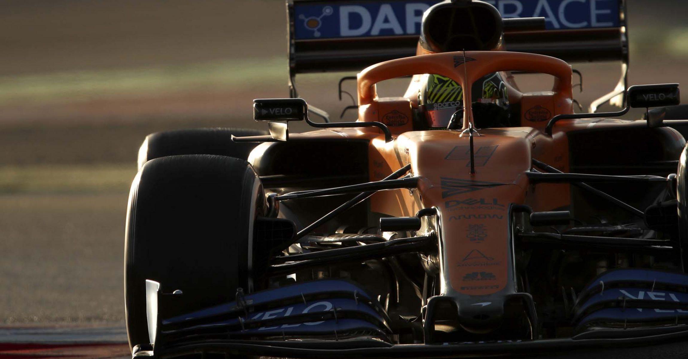 Lando Norris, McLaren MCL35, negotiates a chicane