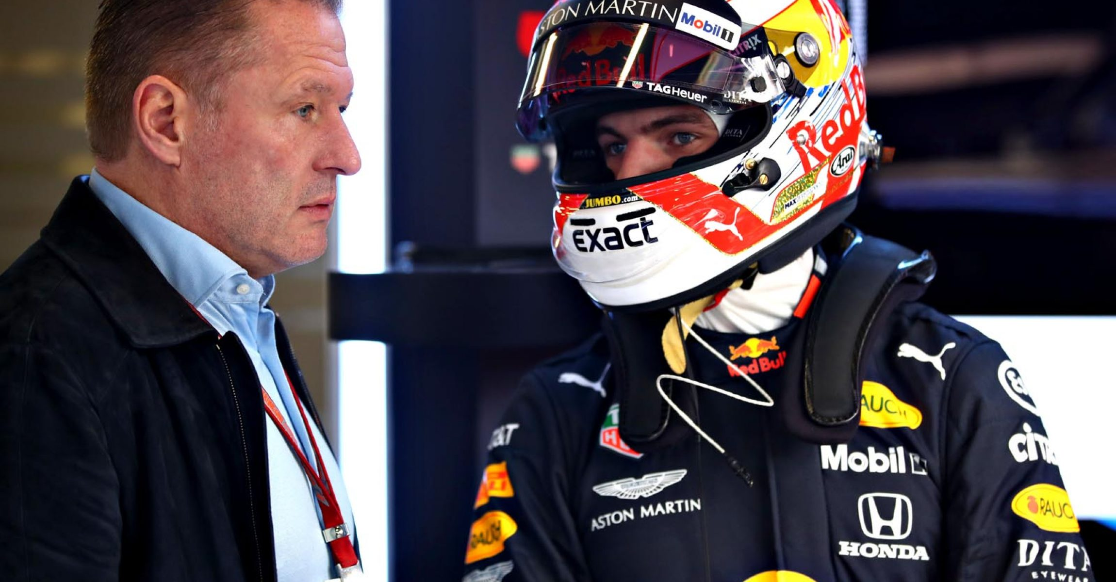 MONTMELO, SPAIN - FEBRUARY 20: Max Verstappen of Netherlands and Red Bull Racing talks with his father Jos Verstappen in the garage during day three of F1 Winter Testing at Circuit de Catalunya on February 20, 2019 in Montmelo, Spain. (Photo by Mark Thompson/Getty Images) // Getty Images / Red Bull Content Pool  // AP-1YGD8MNUD1W11 // Usage for editorial use only // Please go to www.redbullcontentpool.com for further information. //