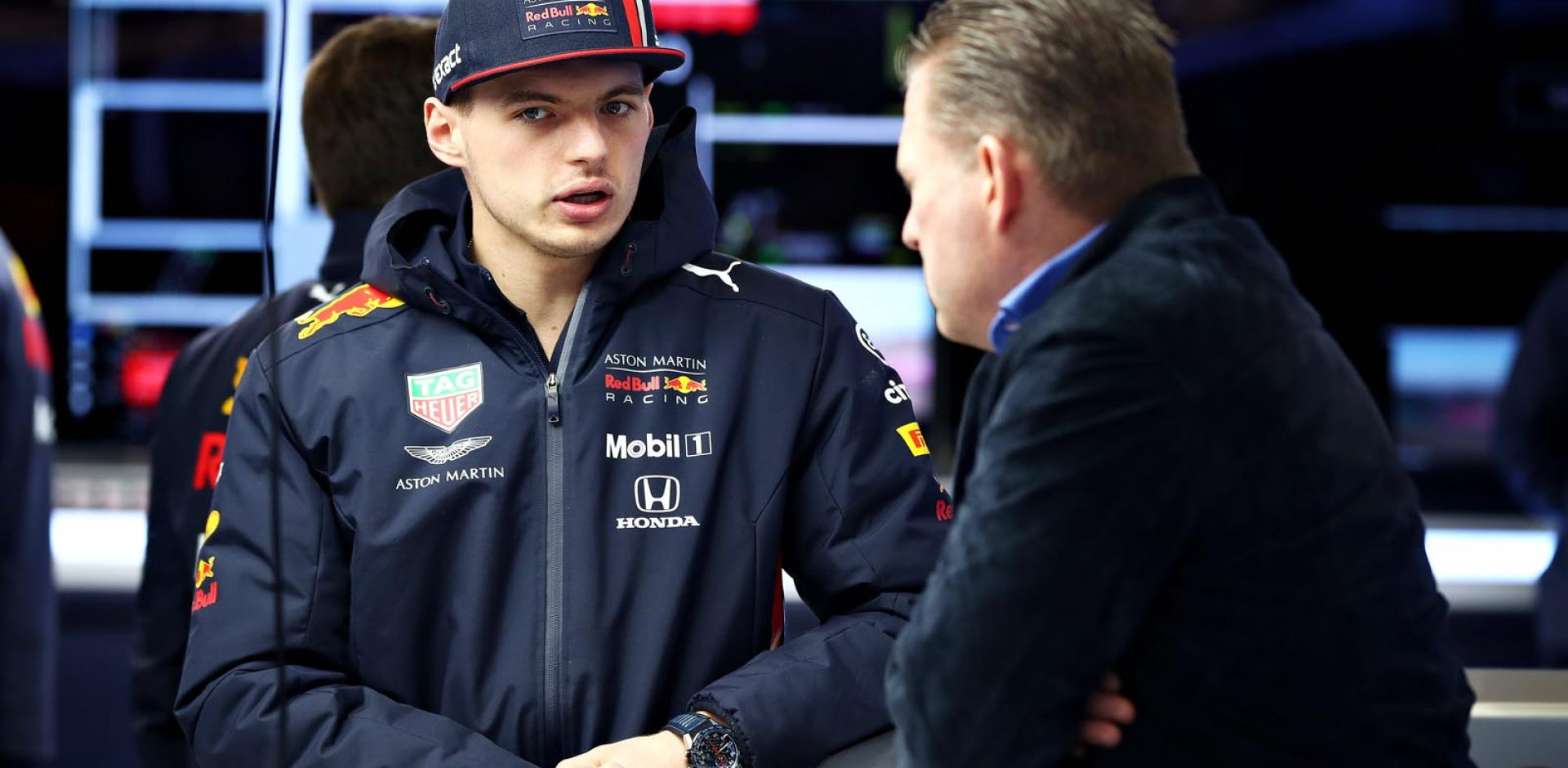 MONTMELO, SPAIN - MARCH 01: Max Verstappen of Netherlands and Red Bull Racing talks with his father Jos Verstappen in the garage during day four of F1 Winter Testing at Circuit de Catalunya on March 01, 2019 in Montmelo, Spain. (Photo by Mark Thompson/Getty Images) // Getty Images / Red Bull Content Pool  // AP-1YK8SDFRN2111 // Usage for editorial use only // Please go to www.redbullcontentpool.com for further information. //