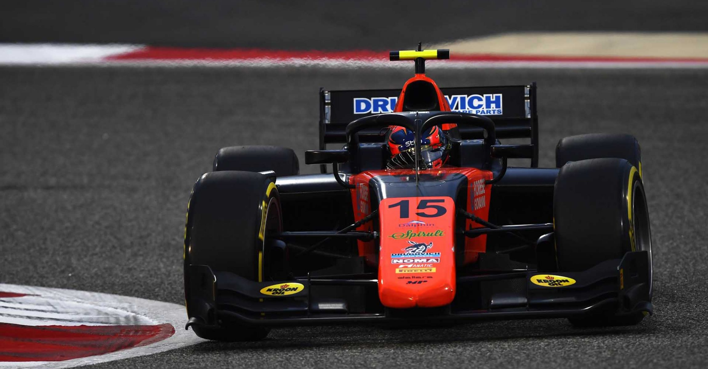 BAHRAIN, BAHRAIN - NOVEMBER 27: Felipe Drugovich of Brazil and MP Motosport (15) drives on track during qualifying ahead of Round 11:Sakhir of the Formula 2 Championship at Bahrain International Circuit on November 27, 2020 in Bahrain, Bahrain. (Photo by Rudy Carezzevoli/Getty Images)