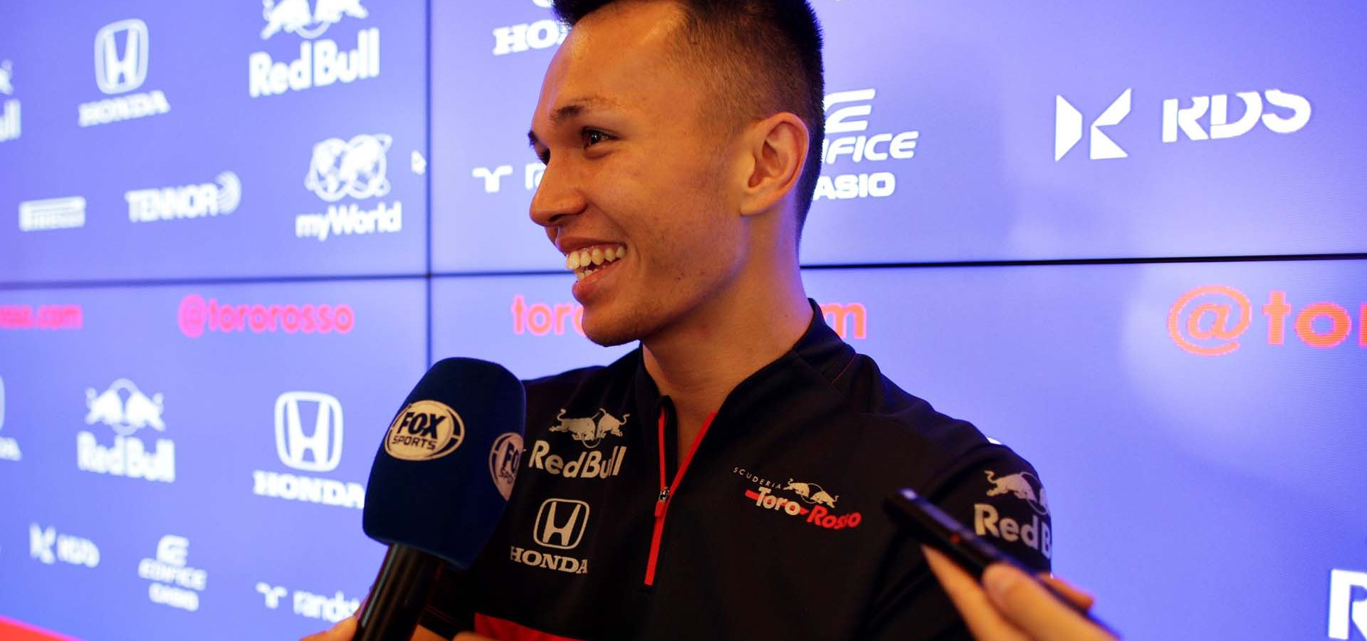 LE CASTELLET, FRANCE - JUNE 20: Alexander Albon of Thailand and Scuderia Toro Rosso talks to the media in the Paddock during previews ahead of the F1 Grand Prix of France at Circuit Paul Ricard on June 20, 2019 in Le Castellet, France. (Photo by Peter Fox/Getty Images) // Getty Images / Red Bull Content Pool  // AP-1ZQ1RD2CH1W11 // Usage for editorial use only // Please go to www.redbullcontentpool.com for further information. //