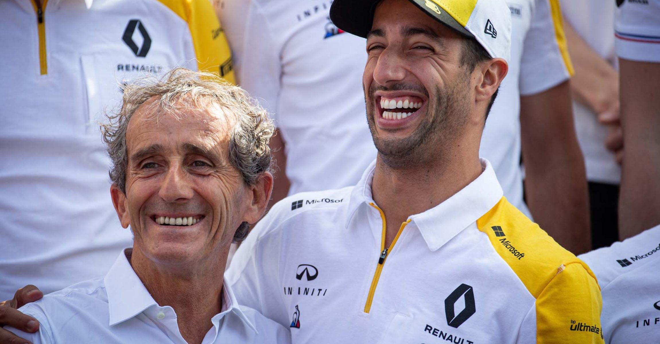 (L to R): Alain Prost (FRA) Renault F1 Team Special Advisor and Daniel Ricciardo (AUS) Renault F1 Team at a team photograph. French Grand Prix, Sunday 23rd June 2019. Paul Ricard, France.