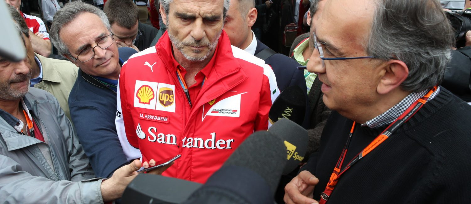 SPIELBERG,AUSTRIA,21.JUN.15 - MOTORSPORTS, FORMULA 1 - Grand Prix of Austria, Red Bull Ring. Image shows team principal Maurizio Arrivabene (Ferrari) and Sergio Marchionne (Fiat S.p.A., CEO). Photo: GEPA pictures/ Andreas Pranter - For editorial use only. Image is free of charge.