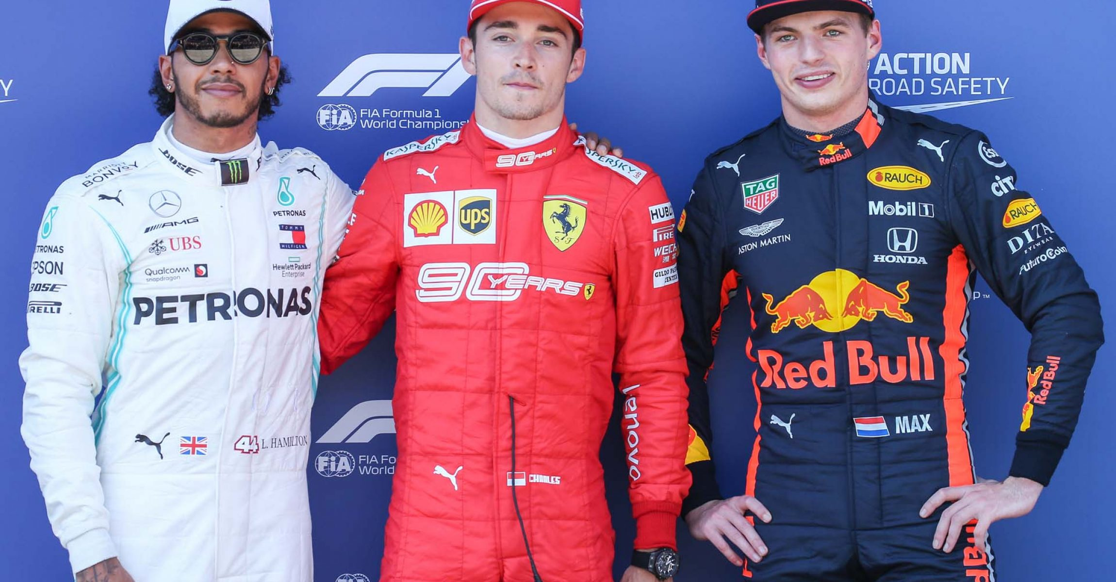 SPIELBERG,AUSTRIA,29.JUN.19 - MOTORSPORTS, FORMULA 1 - Grand Prix of Austria, Red Bull Ring, qualification. Image shows Lewis Hamilton (GBR/ Mercedes), Charles Leclerc (MON/ Ferrari) and Max Verstappen (NED/ Red Bull Racing). Photo: GEPA pictures/ Harald Steiner - For editorial use only. Image is free of charge.