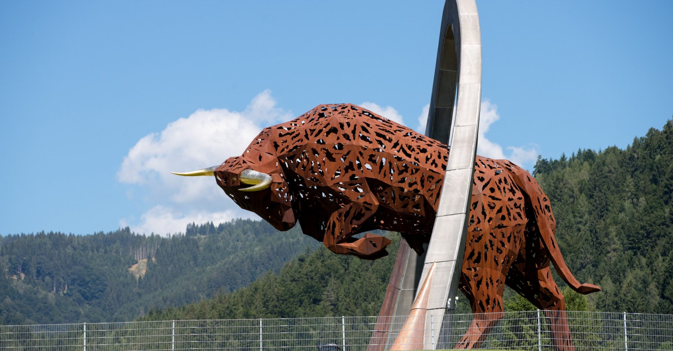 SPIELBERG,AUSTRIA,06.JUL.17 - MOTORSPORTS, FORMULA 1 - Grand Prix of Austria, Red Bull Ring, preview. Image shows iron Red Bull sculpture. Photo: GEPA pictures/ Matic Klansek - For editorial use only. Image is free of charge.