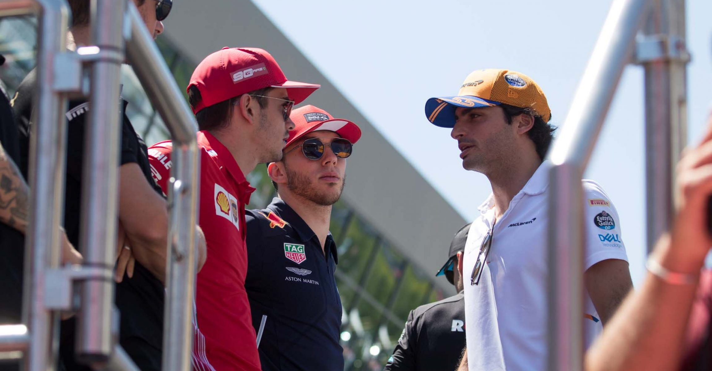 SPIELBERG,AUSTRIA,30.JUN.19 - MOTORSPORTS, FORMULA 1 - Grand Prix of Austria, Red Bull Ring. Image shows Romain Grosjean (FRA/ Haas), Charles Leclerc (MON/ Ferrari), Pierre Gasly (FRA/ Red Bull Racing) and Carlos Sainz Jr. (ESP/ McLaren). Photo: GEPA pictures/ Daniel Goetzhaber - For editorial use only. Image is free of charge.