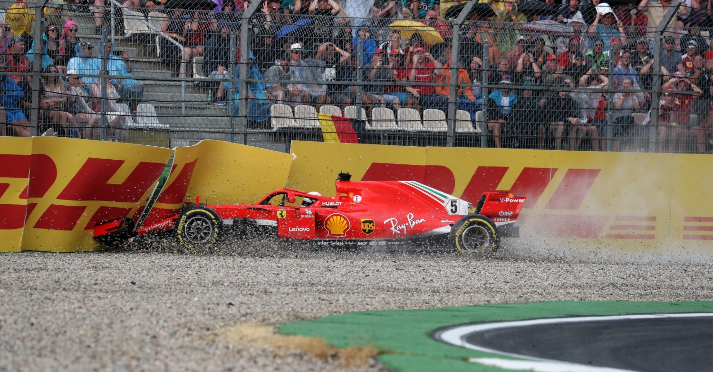 HOCKENHEIMRING, GERMANY - JULY 22: Sebastian Vettel (GER) Ferrari SF-71H crashes out of the race during the German GP at Hockenheimring on July 22, 2018 in Hockenheimring, Germany. (Photo by Hasan Bratic / Sutton Images)