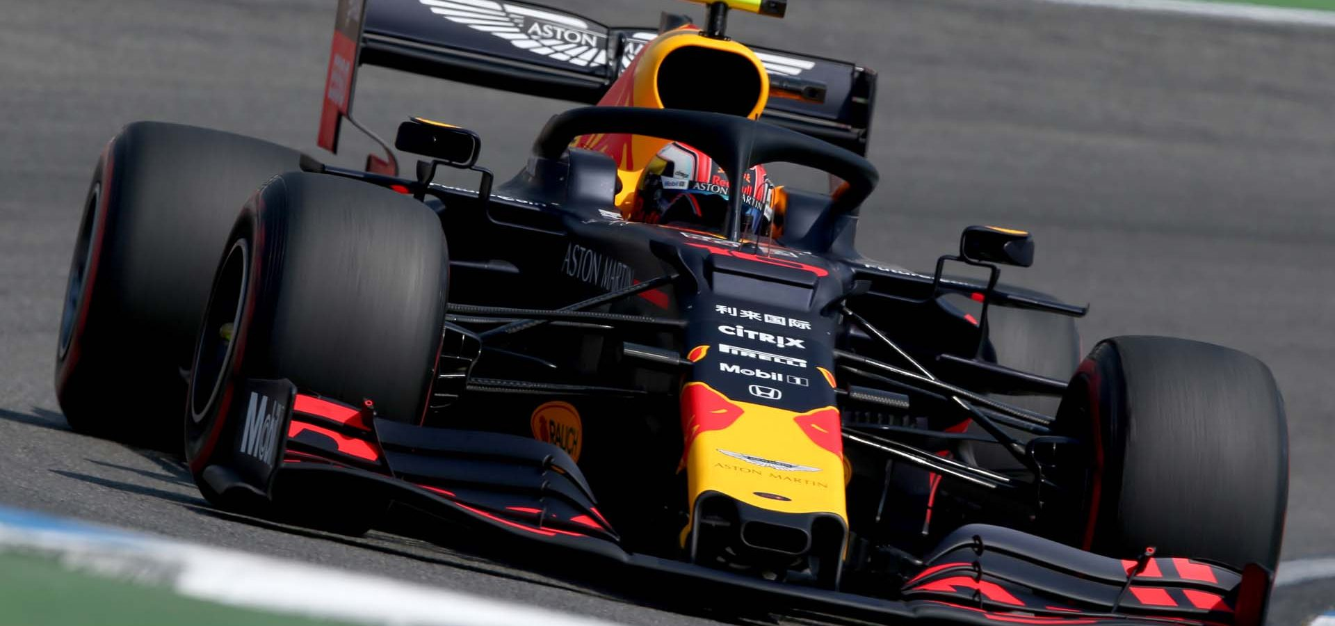 HOCKENHEIM, GERMANY - JULY 26: Pierre Gasly of France driving the (10) Aston Martin Red Bull Racing RB15 on track during practice for the F1 Grand Prix of Germany at Hockenheimring on July 26, 2019 in Hockenheim, Germany. (Photo by Charles Coates/Getty Images) // Getty Images / Red Bull Content Pool  // AP-212MN8PE12111 // Usage for editorial use only // Please go to www.redbullcontentpool.com for further information. //