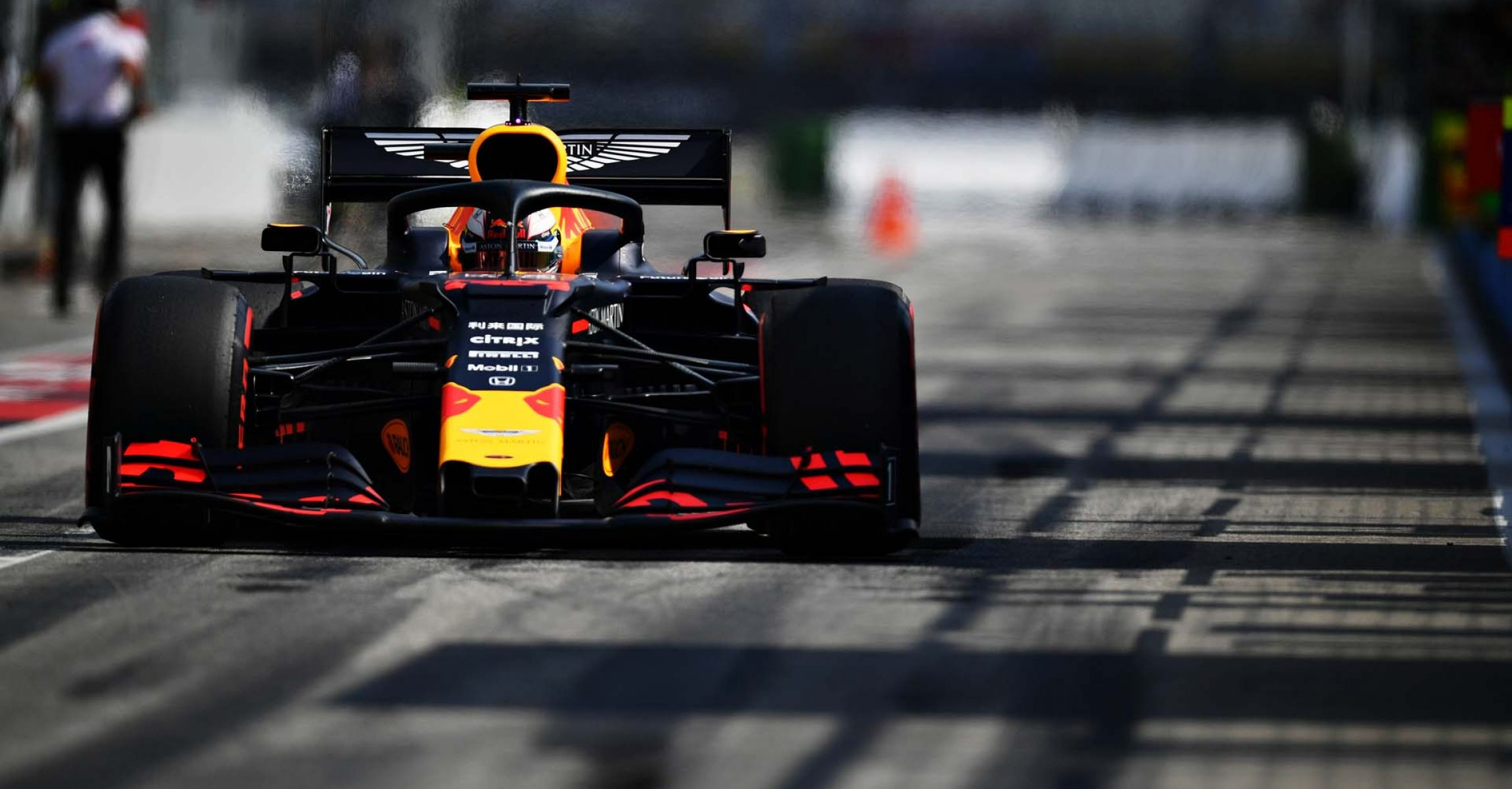 HOCKENHEIM, GERMANY - JULY 26: Max Verstappen of the Netherlands driving the (33) Aston Martin Red Bull Racing RB15 in the Pitlane during practice for the F1 Grand Prix of Germany at Hockenheimring on July 26, 2019 in Hockenheim, Germany. (Photo by Dan Mullan/Getty Images) // Getty Images / Red Bull Content Pool  // AP-212NFT74S2111 // Usage for editorial use only // Please go to www.redbullcontentpool.com for further information. //