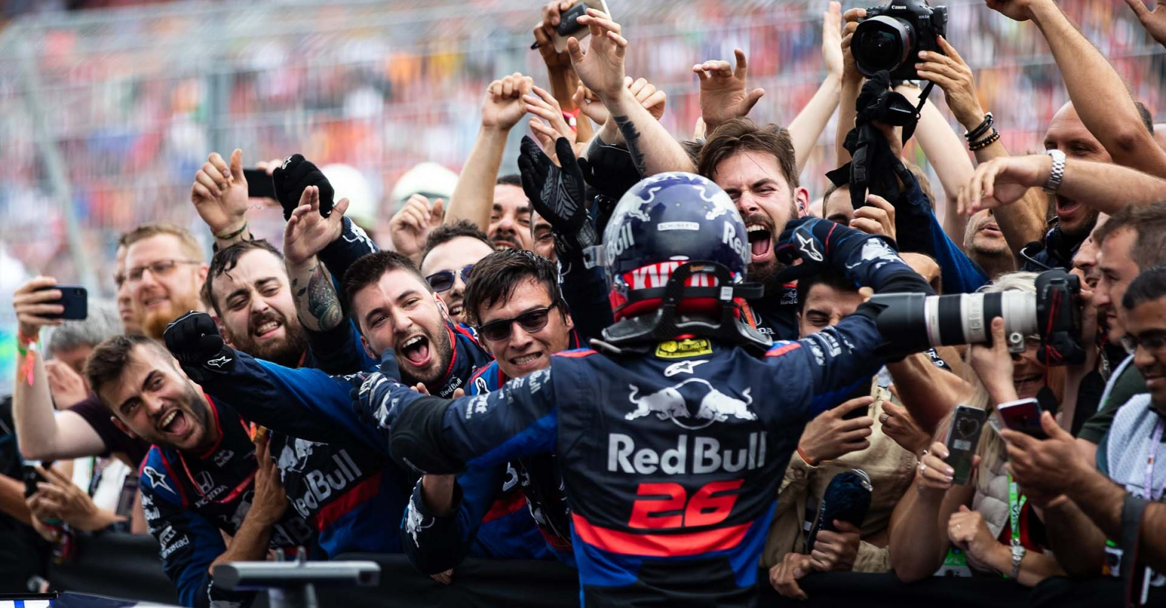 HOCKENHEIM, GERMANY - JULY 28: Third placed Daniil Kvyat of Russia and Scuderia Toro Rosso celebrates in parc ferme during the F1 Grand Prix of Germany at Hockenheimring on July 28, 2019 in Hockenheim, Germany. (Photo by Lars Baron/Getty Images) // Getty Images / Red Bull Content Pool  // AP-213AD1USS2511 // Usage for editorial use only // Please go to www.redbullcontentpool.com for further information. //