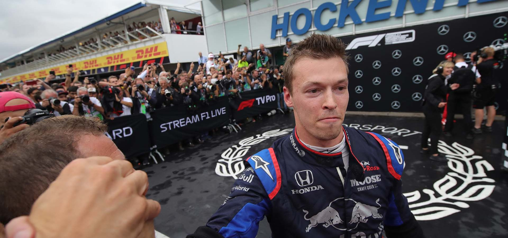 HOCKENHEIM, GERMANY - JULY 28: Third placed Daniil Kvyat of Russia and Scuderia Toro Rosso celebrates in parc ferme during the F1 Grand Prix of Germany at Hockenheimring on July 28, 2019 in Hockenheim, Germany. (Photo by Alexander Hassenstein/Getty Images) // Getty Images / Red Bull Content Pool  // AP-213AK1VH52111 // Usage for editorial use only // Please go to www.redbullcontentpool.com for further information. //