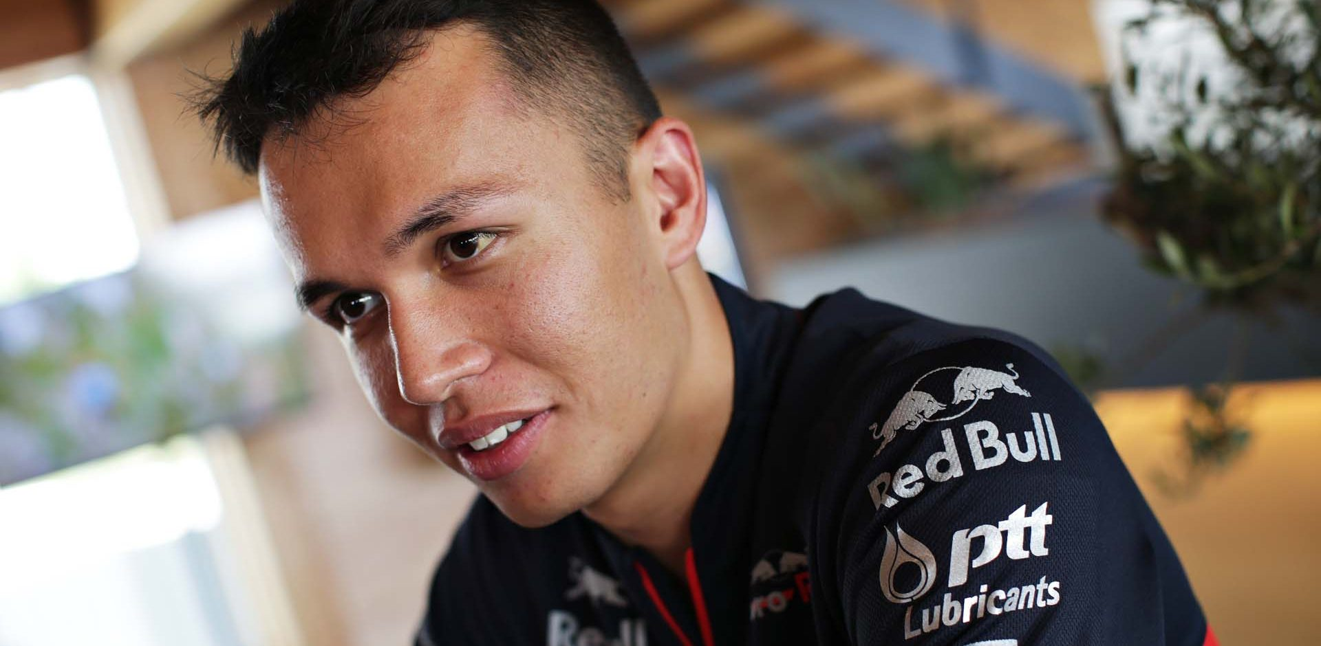 HOCKENHEIM, GERMANY - JULY 25: Alexander Albon of Thailand and Scuderia Toro Rosso talks to the media in the Paddock during previews ahead of the F1 Grand Prix of Germany at Hockenheimring on July 25, 2019 in Hockenheim, Germany. (Photo by Peter Fox/Getty Images) // Getty Images / Red Bull Content Pool  // AP-212ADZ2KW2511 // Usage for editorial use only // Please go to www.redbullcontentpool.com for further information. //