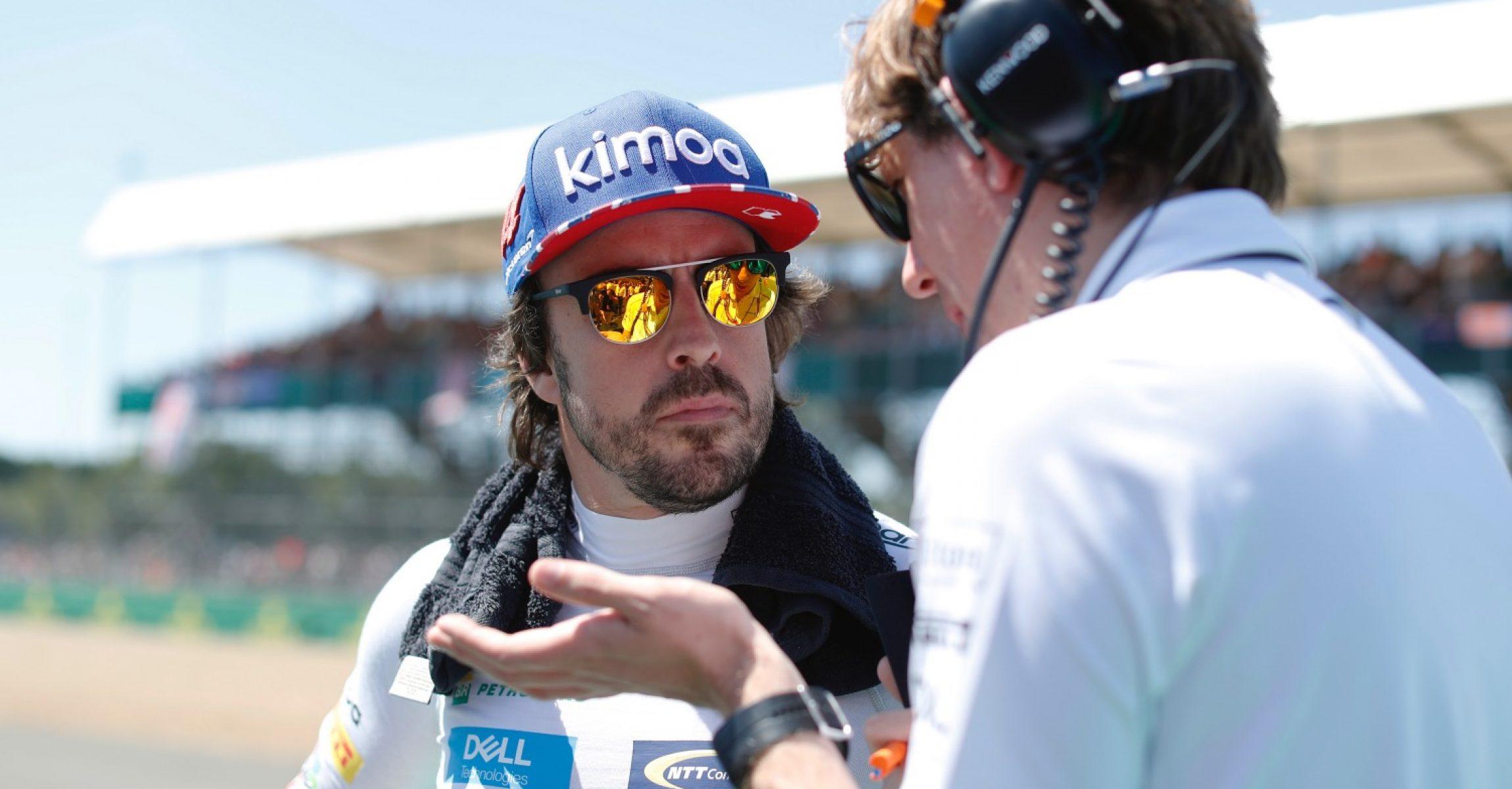 Silverstone Circuit, Northamptonshire, UK Sunday 8 July 2018. Fernando Alonso, McLaren, on the grid. Photo: Steven Tee/McLaren ref: Digital Image _1ST0656