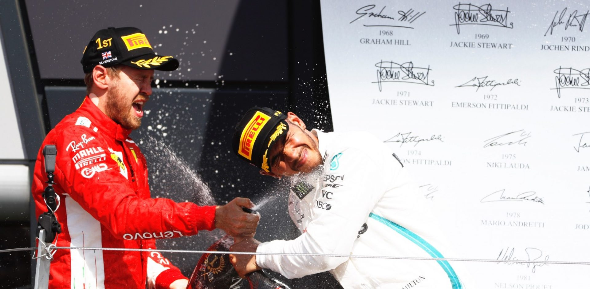 Sebastian Vettel Lewis Hamilton champagne