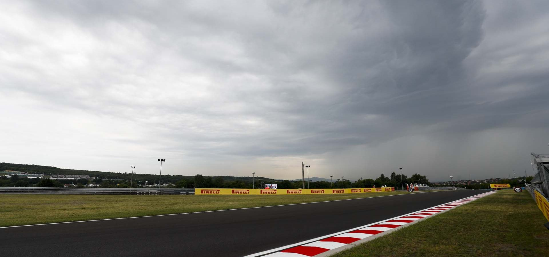 HUNGARORING, HUNGARY - AUGUST 02: Dark clouds over the track during the Hungarian GP at Hungaroring on August 02, 2019 in Hungaroring, Hungary. (Photo by Sam Bloxham / LAT Images)