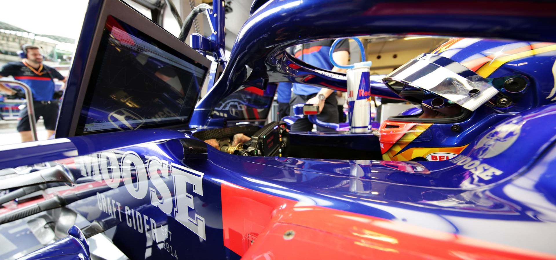 BUDAPEST, HUNGARY - AUGUST 02: Alexander Albon of Thailand and Scuderia Toro Rosso prepares to drive in the garage during practice for the F1 Grand Prix of Hungary at Hungaroring on August 02, 2019 in Budapest, Hungary. (Photo by Peter Fox/Getty Images) // Getty Images / Red Bull Content Pool  // AP-214UE91PD2111 // Usage for editorial use only // Please go to www.redbullcontentpool.com for further information. //