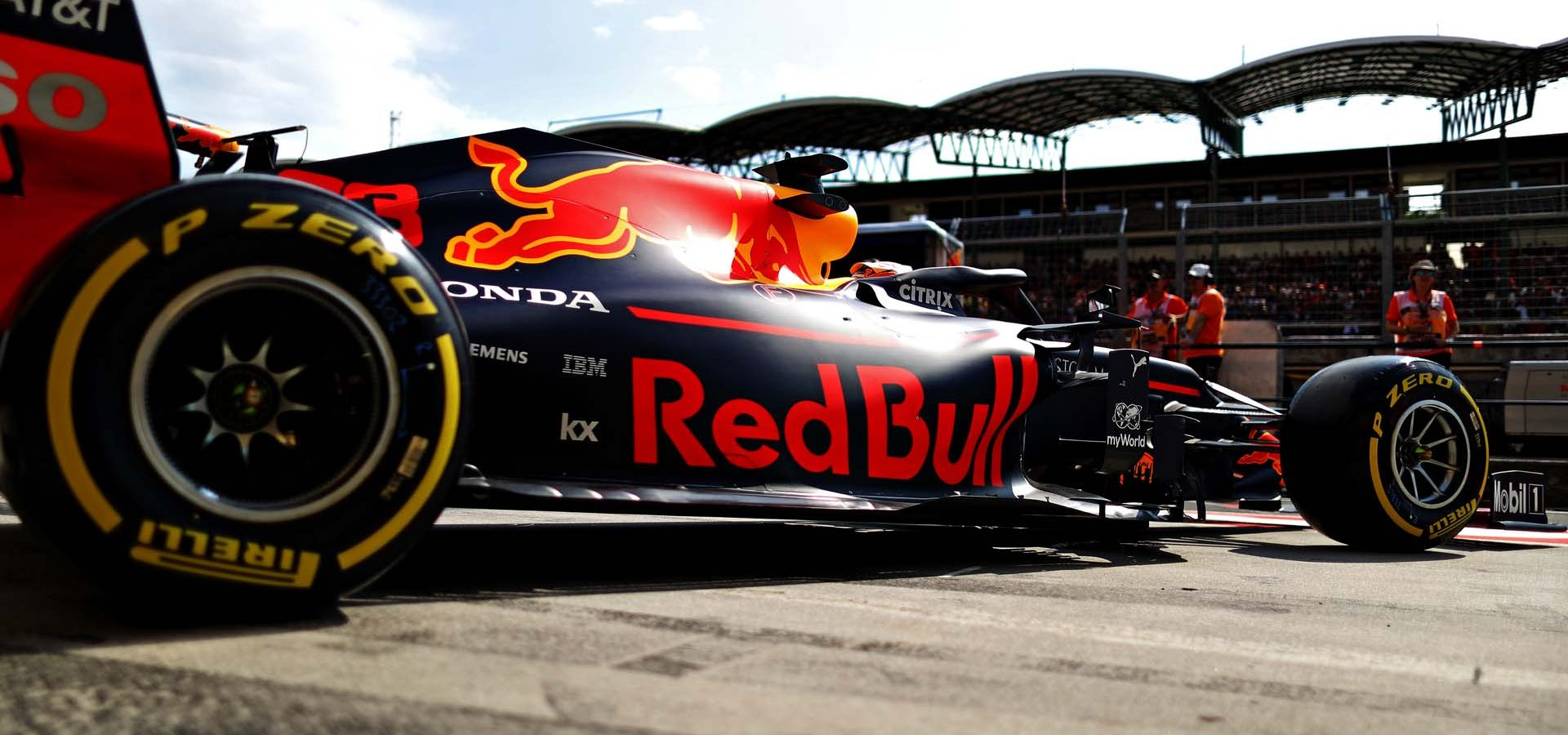 BUDAPEST, HUNGARY - AUGUST 03: Max Verstappen of the Netherlands driving the (33) Aston Martin Red Bull Racing RB15 leaves the garage during qualifying for the F1 Grand Prix of Hungary at Hungaroring on August 03, 2019 in Budapest, Hungary. (Photo by Mark Thompson/Getty Images) // Getty Images / Red Bull Content Pool  // AP-2157ANN6W1W11 // Usage for editorial use only // Please go to www.redbullcontentpool.com for further information. //