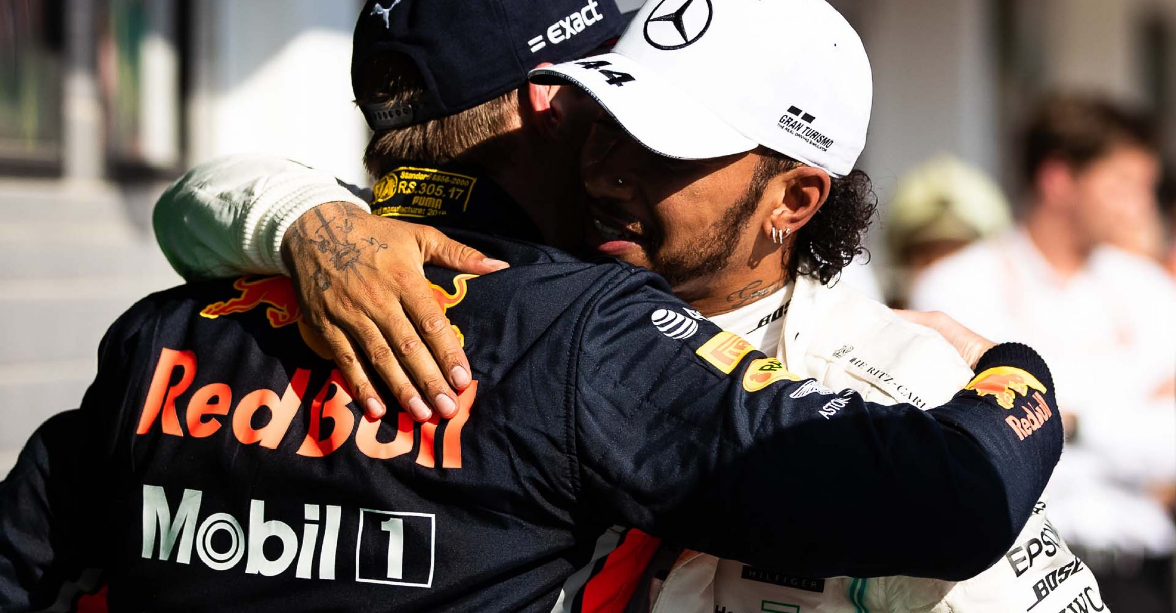 BUDAPEST, HUNGARY - AUGUST 04: Race winner Lewis Hamilton of Great Britain and Mercedes GP and second placed Max Verstappen of Netherlands and Red Bull Racing celebrate in parc ferme during the F1 Grand Prix of Hungary at Hungaroring on August 04, 2019 in Budapest, Hungary. (Photo by Lars Baron/Getty Images) // Getty Images / Red Bull Content Pool  // AP-215JEBSK11W11 // Usage for editorial use only // Please go to www.redbullcontentpool.com for further information. //