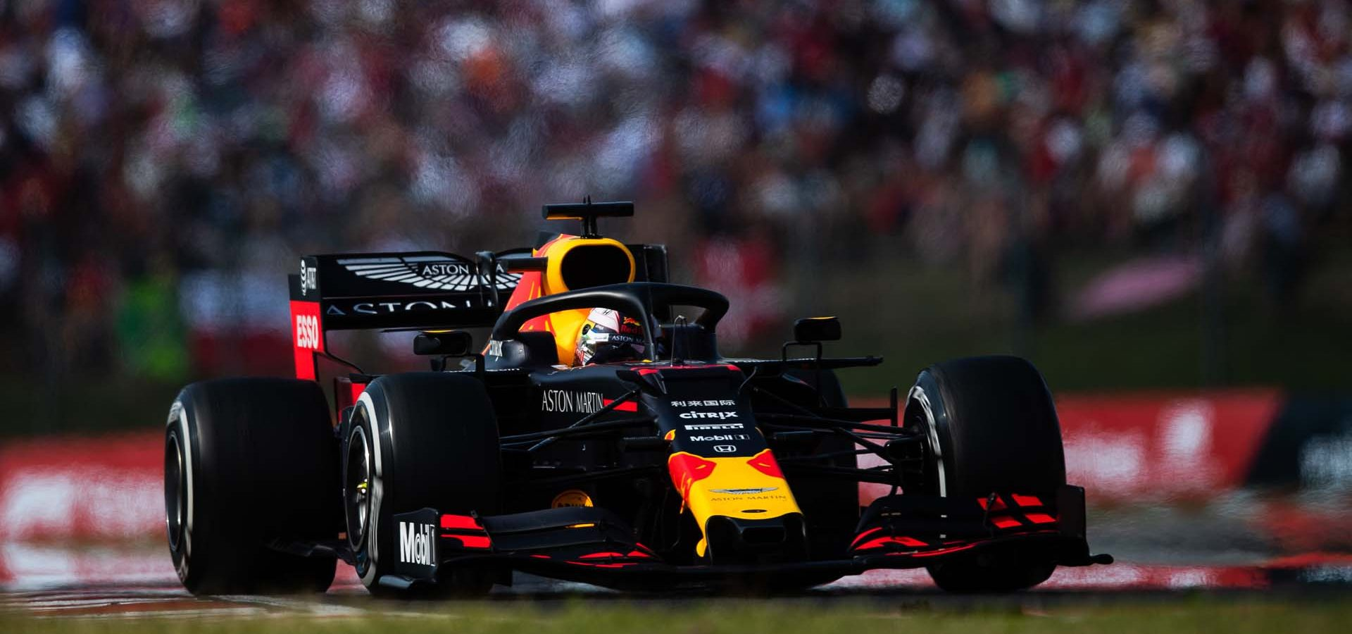 BUDAPEST, HUNGARY - AUGUST 04: Max Verstappen of the Netherlands driving the (33) Aston Martin Red Bull Racing RB15 on track during the F1 Grand Prix of Hungary at Hungaroring on August 04, 2019 in Budapest, Hungary. (Photo by Lars Baron/Getty Images) // Getty Images / Red Bull Content Pool  // AP-215JKV4991W11 // Usage for editorial use only // Please go to www.redbullcontentpool.com for further information. //