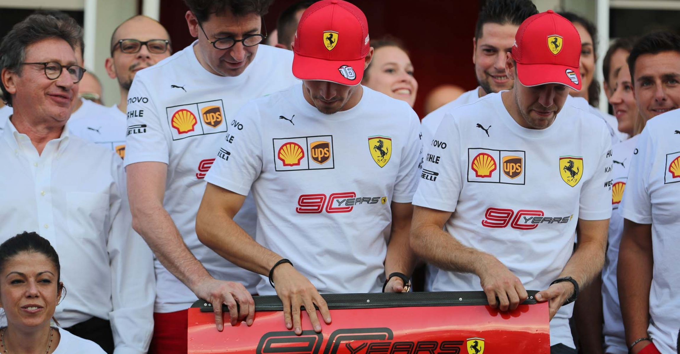 Mattia Binotto, Charles Leclerc, Sebastian Vettel, Ferrari team photo